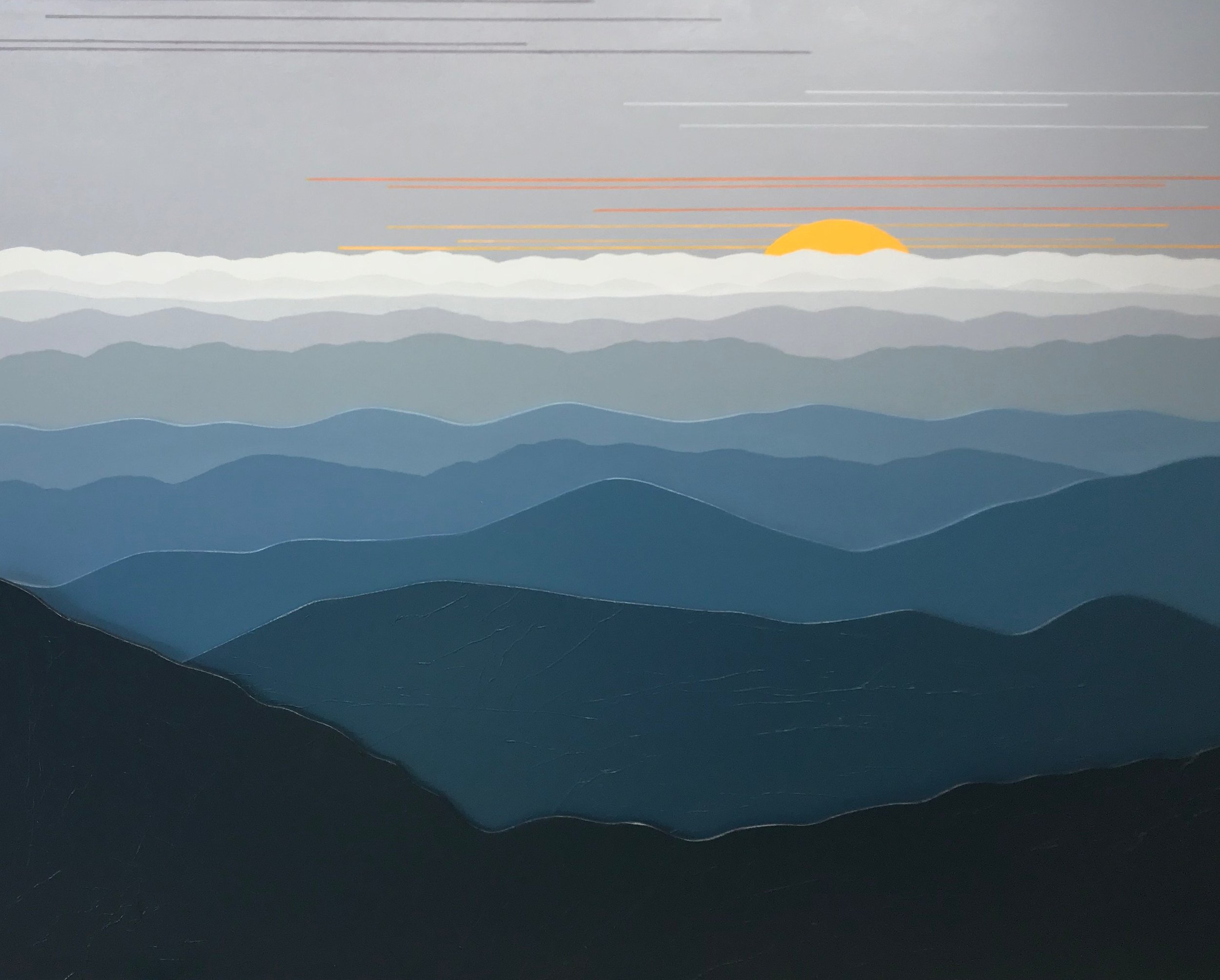 """MISTY MOUNTAIN MORNING 3D 130"", Acrylic on Layered Wood, 30 x 24 inches, $850. - SOLD"