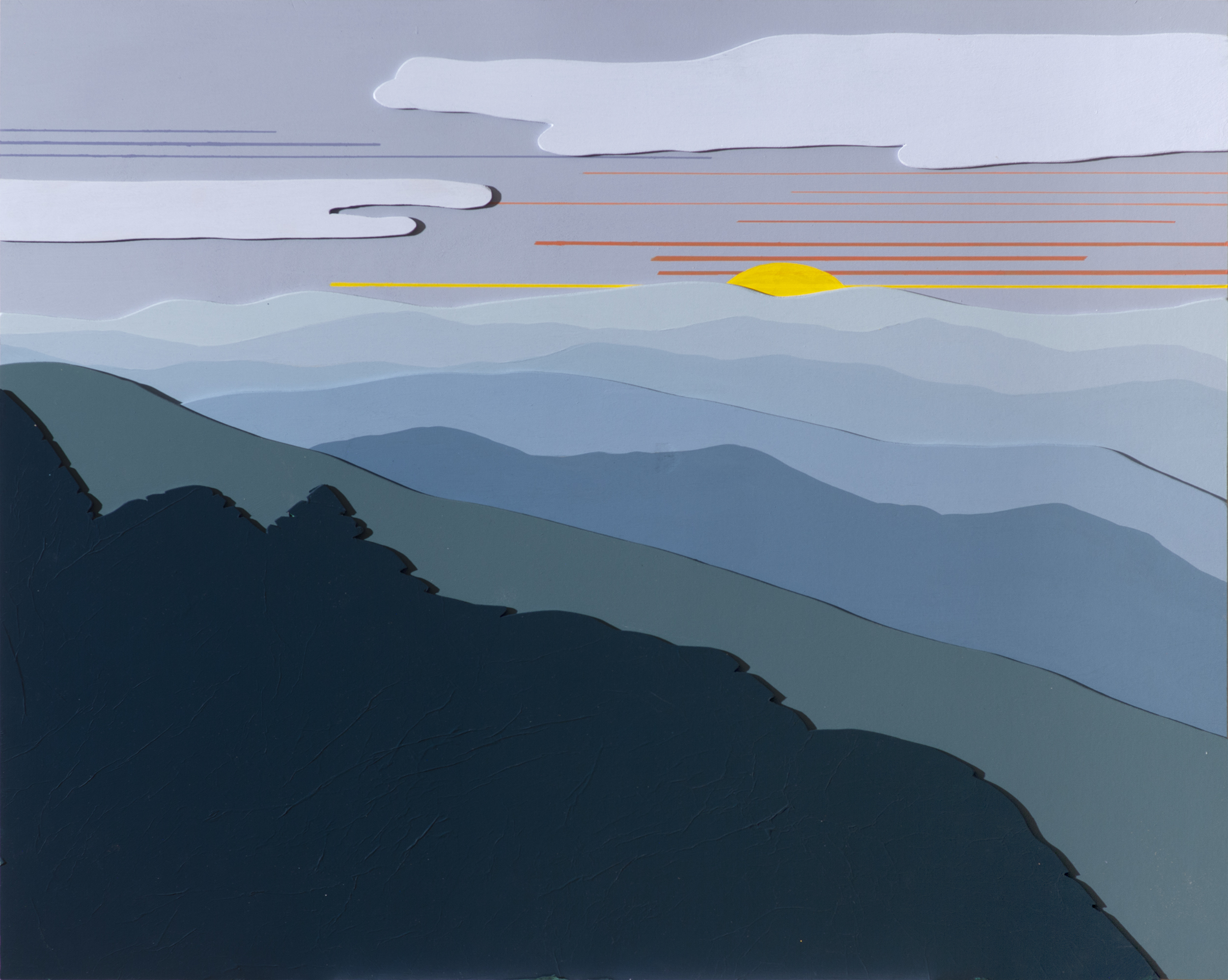 "BLUE RIDGE MORNING 3D 142"", Acrylic on Layered Wood, 30 x 24 inches, $800."