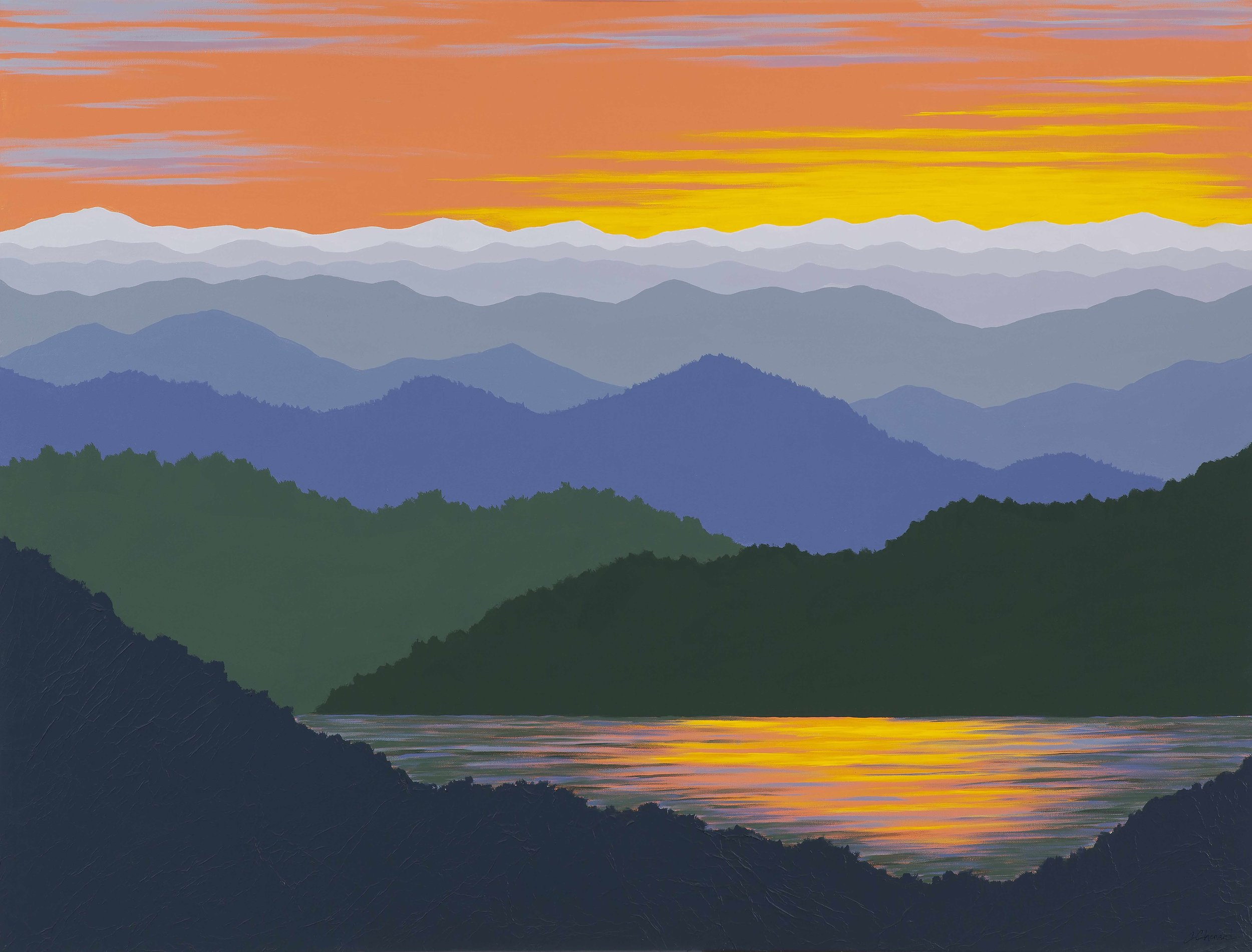 """MOUNTAIN SUNSET REFLECTIONS"",  Acrylic on Canvas in black frame, 48x36 inches, $1800."