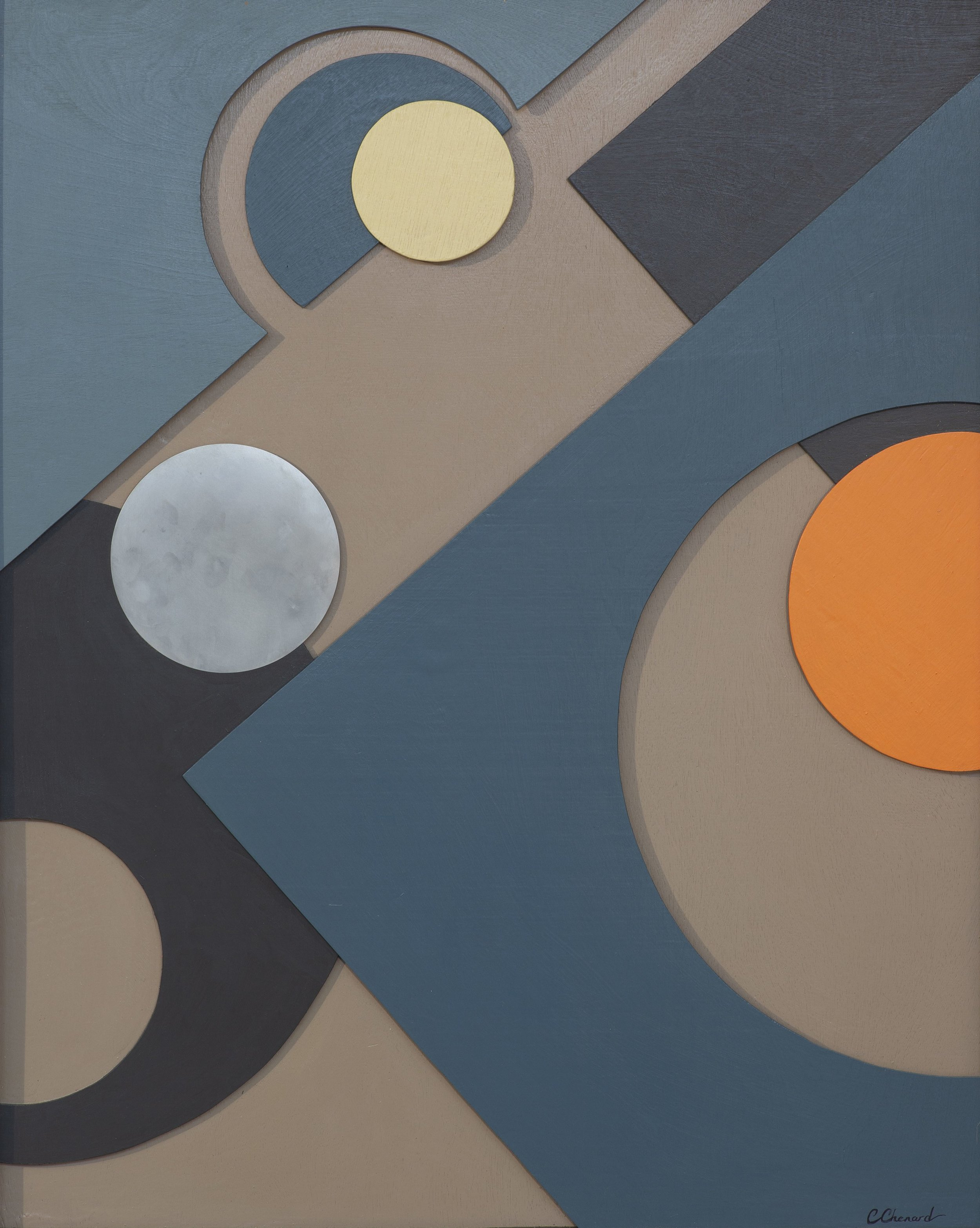 """CIRCLES & SHADOWS"",  Acrylic on Layers of Wood,  24x36 inches $800."