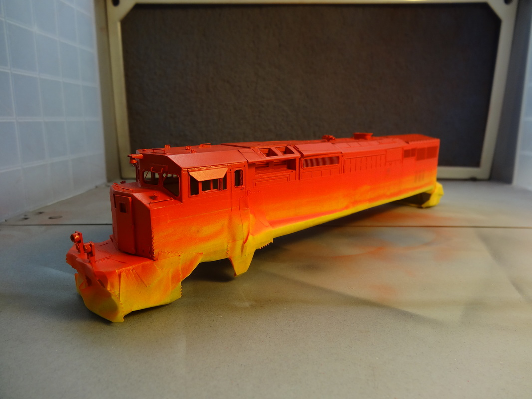 "Testors Model Master Acrylic ""Chevy Engine Red"" is a very close match to BC Rail red. It's a bit lighter than was was factory paint on 4623, but I did want a slightly faded effect."