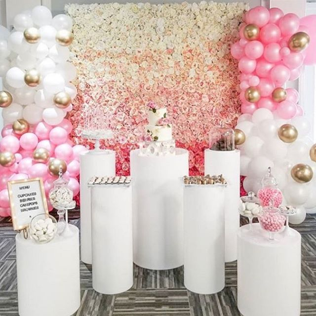 A beautiful set up collaboration to celebrate a very special couple's bridal shower 💗 #flowerwallvancouver #flowerwall #flowerwallbackdrop #ombre #pinkombre #vancouverwedding