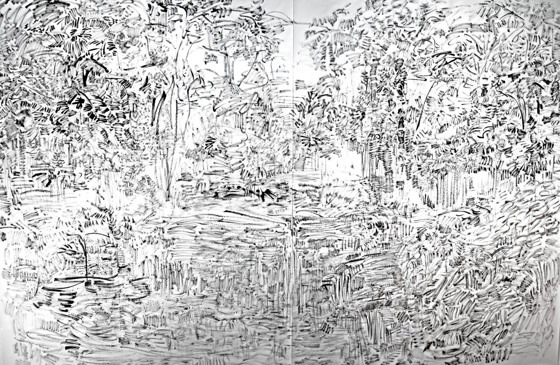 "The Hidden Dimension and Other Observations No. 135, 2016; ink on paper; 80"" x 120""."