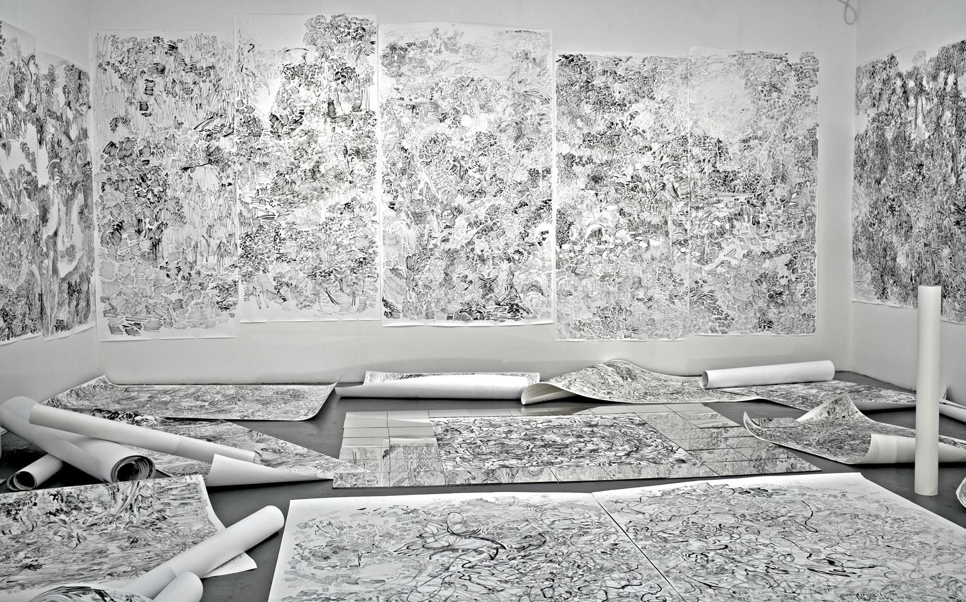 "(From left to right)  I.The Hidden Dimension and Other observations No.112(left wall), Ink on paper, 100""x96""  II.The Hidden Dimension and Other observations No.156 (left two panel on the front wall), Ink on paper, 96""x105""  III.The Hidden Dimension and Other observations No.157 (Middle one panel on the front wall), Ink on paper, 60""x101""  IV.The Hidden Dimension and Other observations No.150 (right two panel on the front wall), Ink on paper, 96""x100""  V.The Hidden Dimension and Other observations No.102 ( the right wall), Ink on paper, 96""x85"""