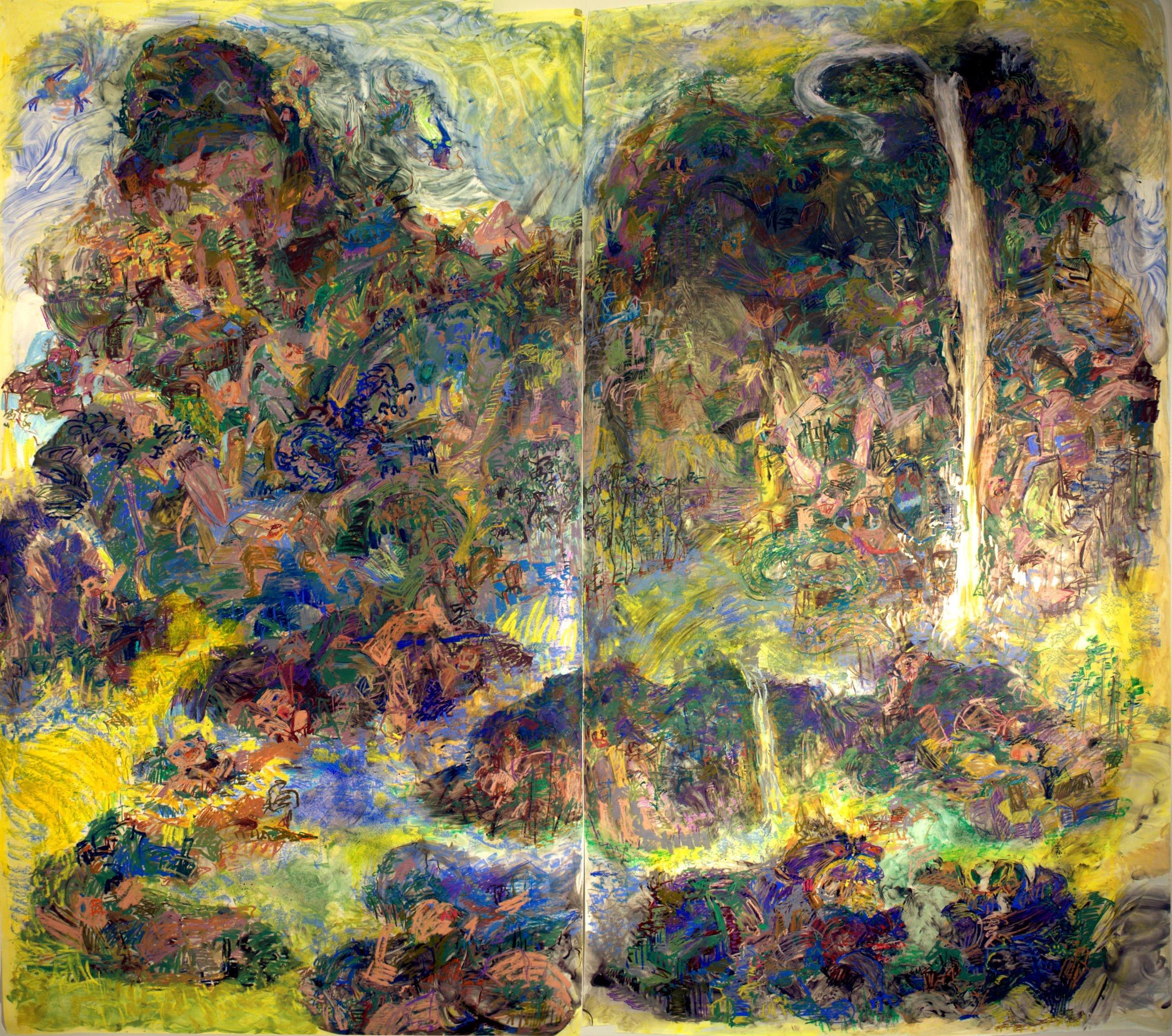 "Riverrun;Mixed Media on Yupo; Diptych 108""x120""; 2018-2019  The left panel is based on the structure of Guo Xi's painting (Chinese landscape painter 1020-1090); the right panel is based on Fan Kuan's painting (Chinese landscape painter 960 – 1030)"