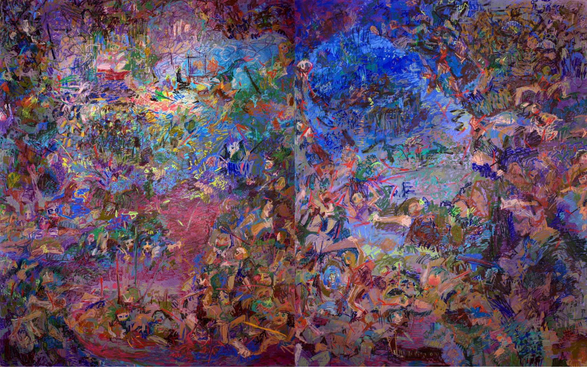 "Anomie; Mixed Medial on Evolon; Diptych 160""x100""; 2019  Left panel is based on the structures of Persian miniature paintings (The Shah-nameh of Shah Tahmasp); Right panel is based on Saint Jerome Reading by Bellini"