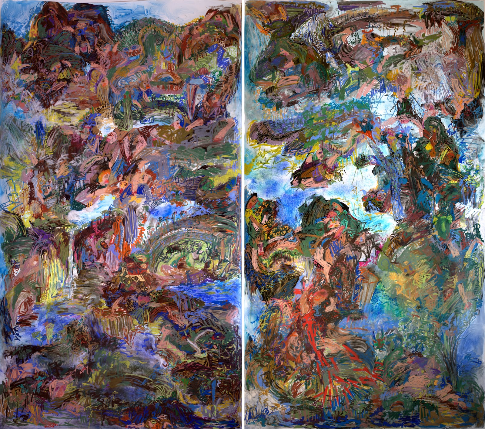 """Silent, upon a peak in Darien"" ; Mixed Media on Yupo; Diptych 108""x120""; 2019  The left panel was based on Chinese Yuan Dynasty painting by Wang Meng ""Ge Zhichuan Moving his Dwelling"" and the right panel is based on ""The Whore of Babylon"" by Dürer."