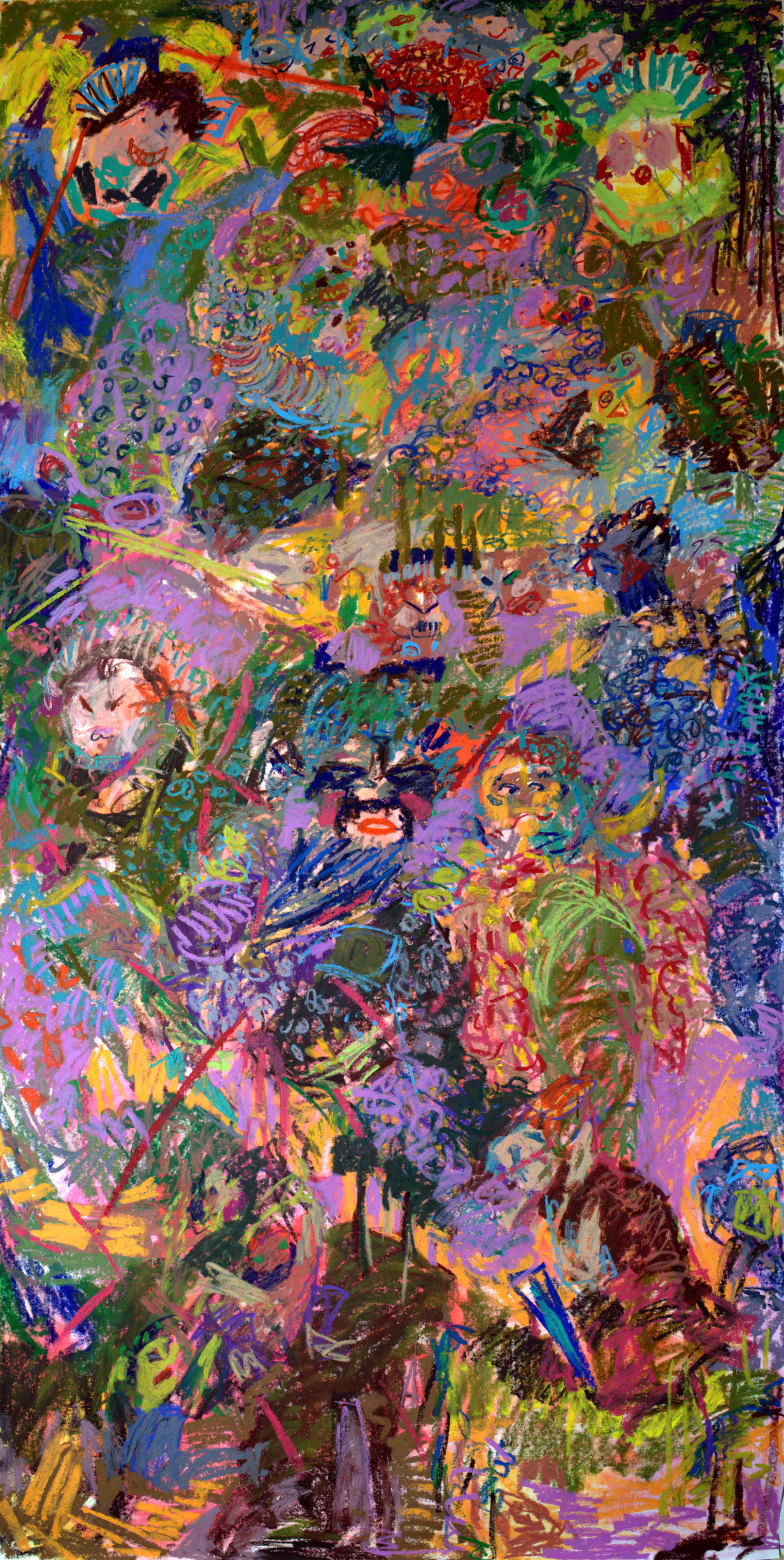"Bed-Stuy Boogie-woogie VI; Oil pastel and Acrylic on Evolon; 40""x80""; 2019  Based on El Greco's Baptism of Christ"