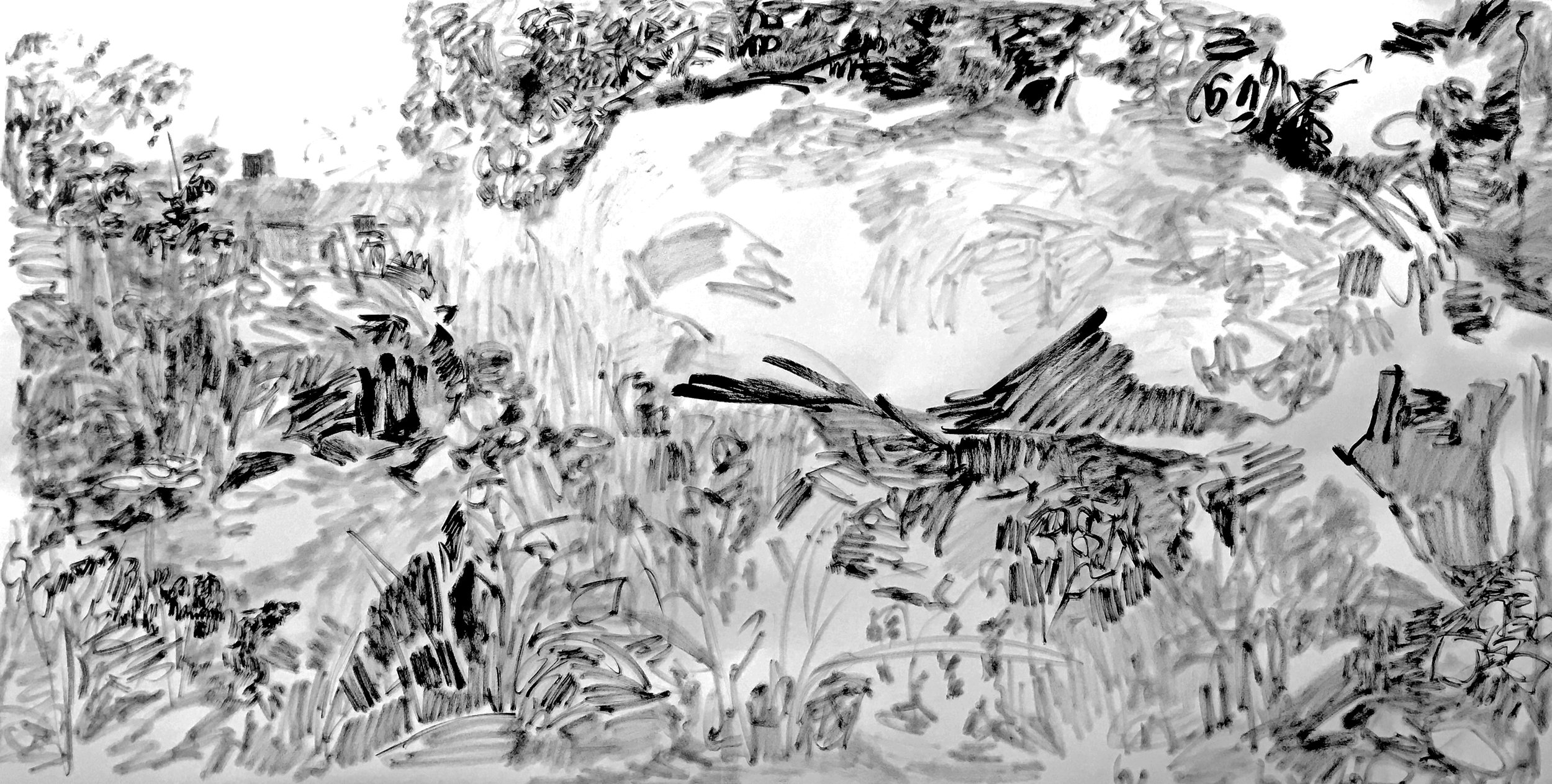 ink on paper, 36 x 80 inches