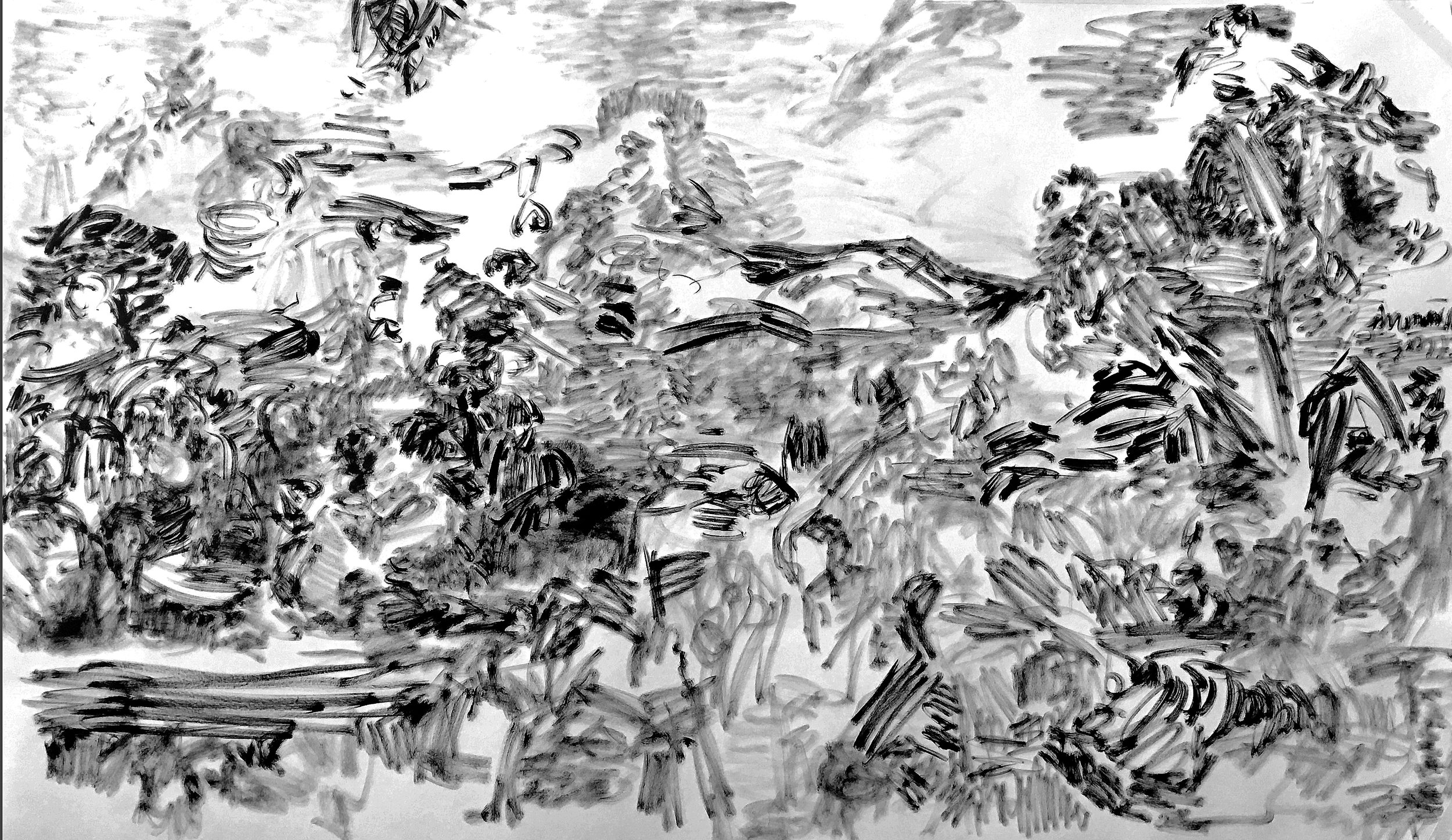 ink on paper, 48x90 inches