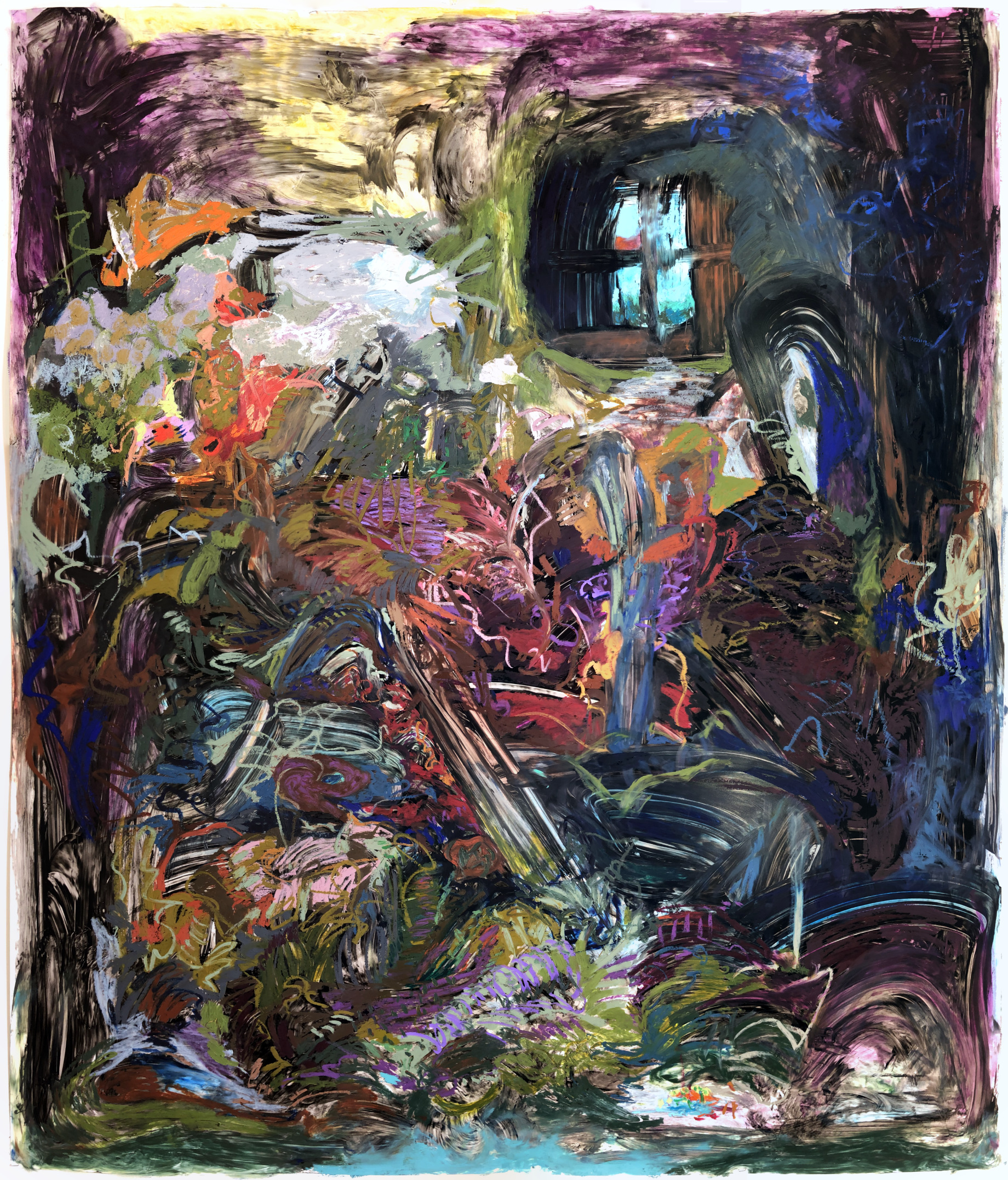 """Wrestling with (my God!) my God; Oil Pastel and Acrylic on Yupo; 70""""x60""""'; 2019; Based on Pierre Bonnard's  Interieur"""