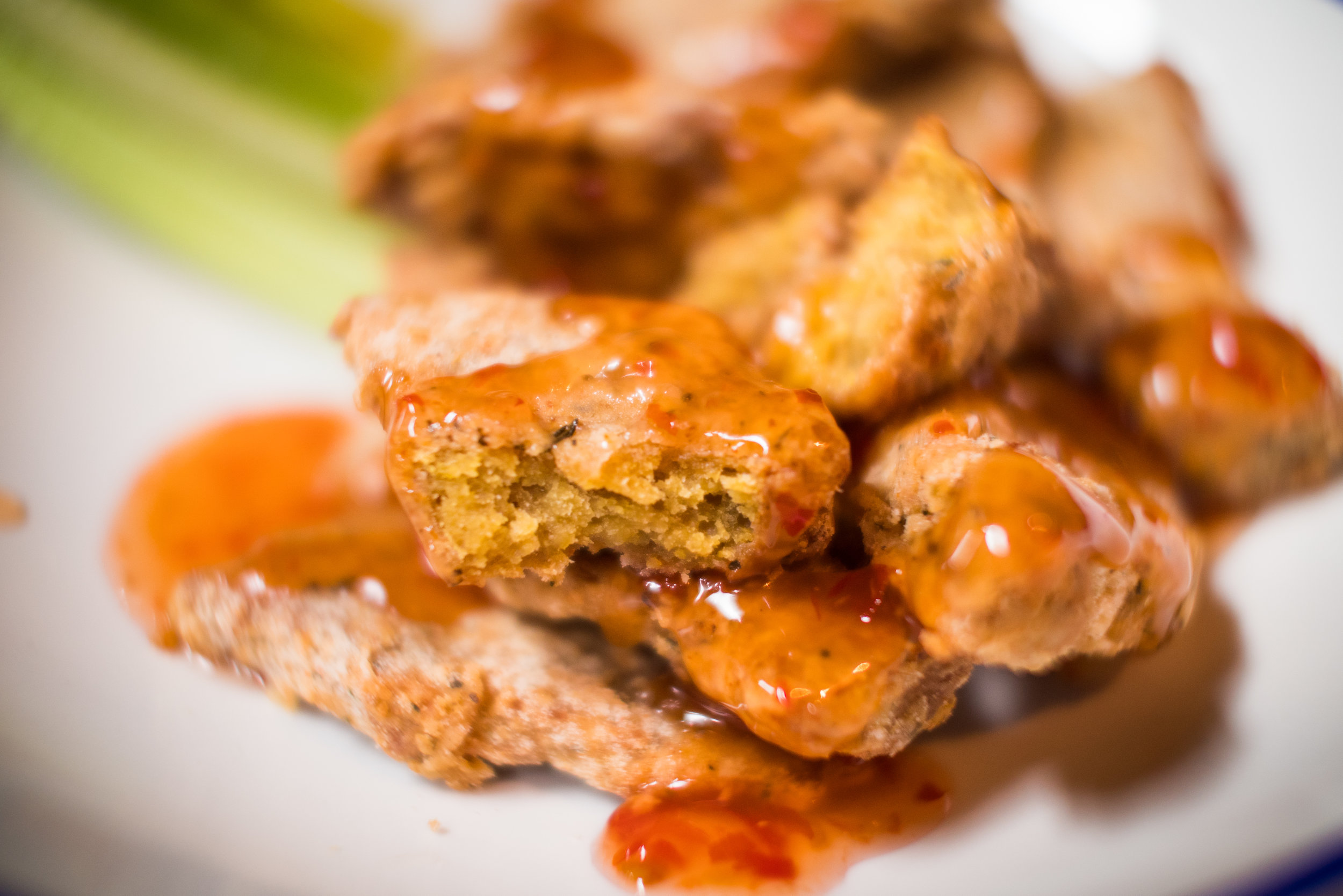 VEGAN WINGS [supplied by Moodley Manor] served with Sweet Chilli Sauce or Vegan BBQ Sauce on the side.