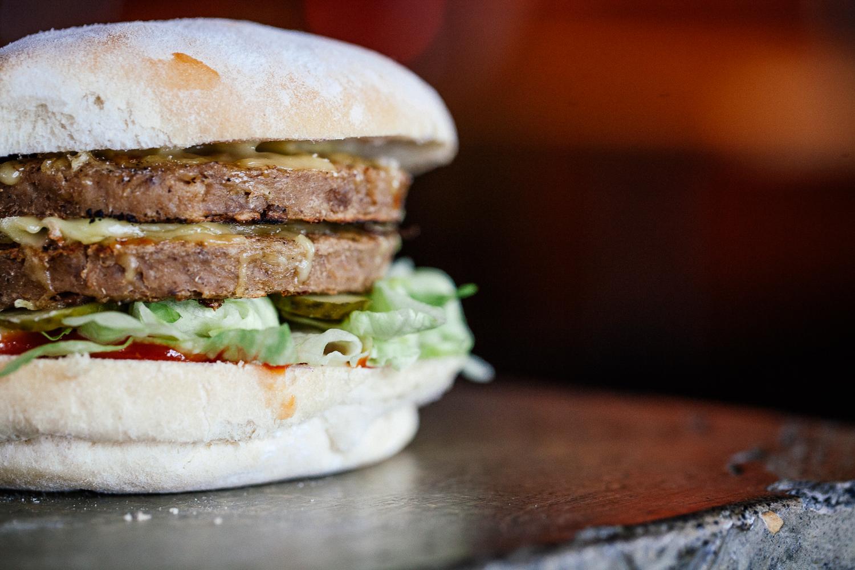 THE SEITAN    Seitan Double Patty, Vegan Cheese, Lettuce, Onion, Pickle, Ketchup