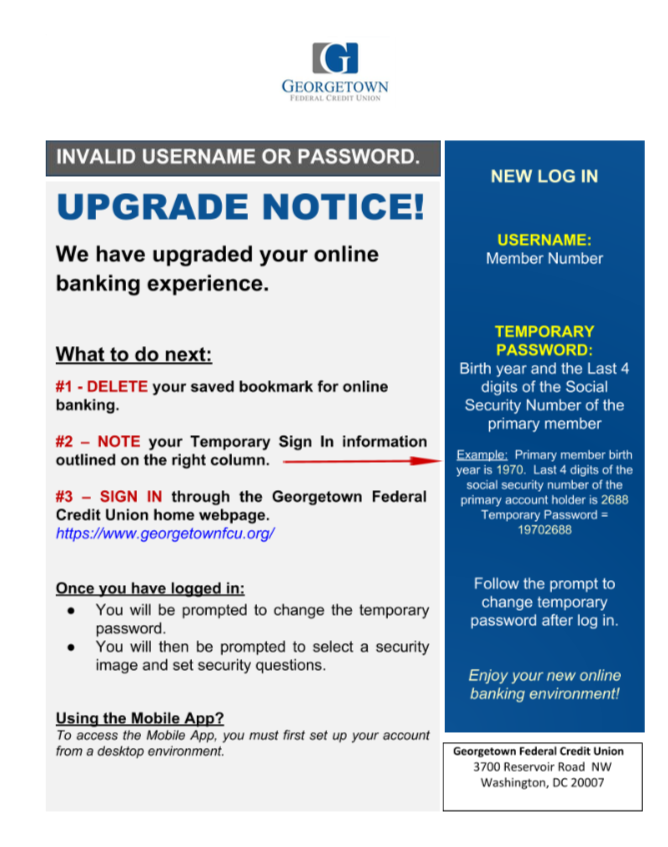 Upgrade Notice! We have upgraded your online banking experience