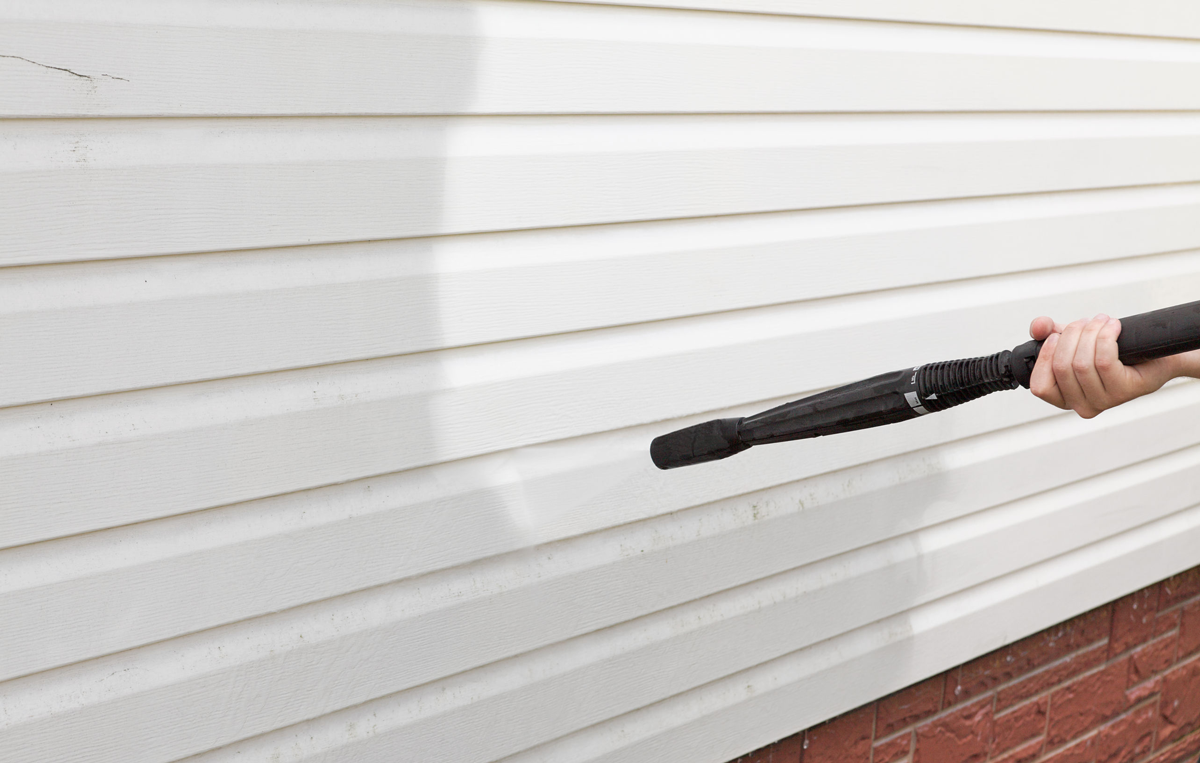 Cleaning vinyl siding is easy.