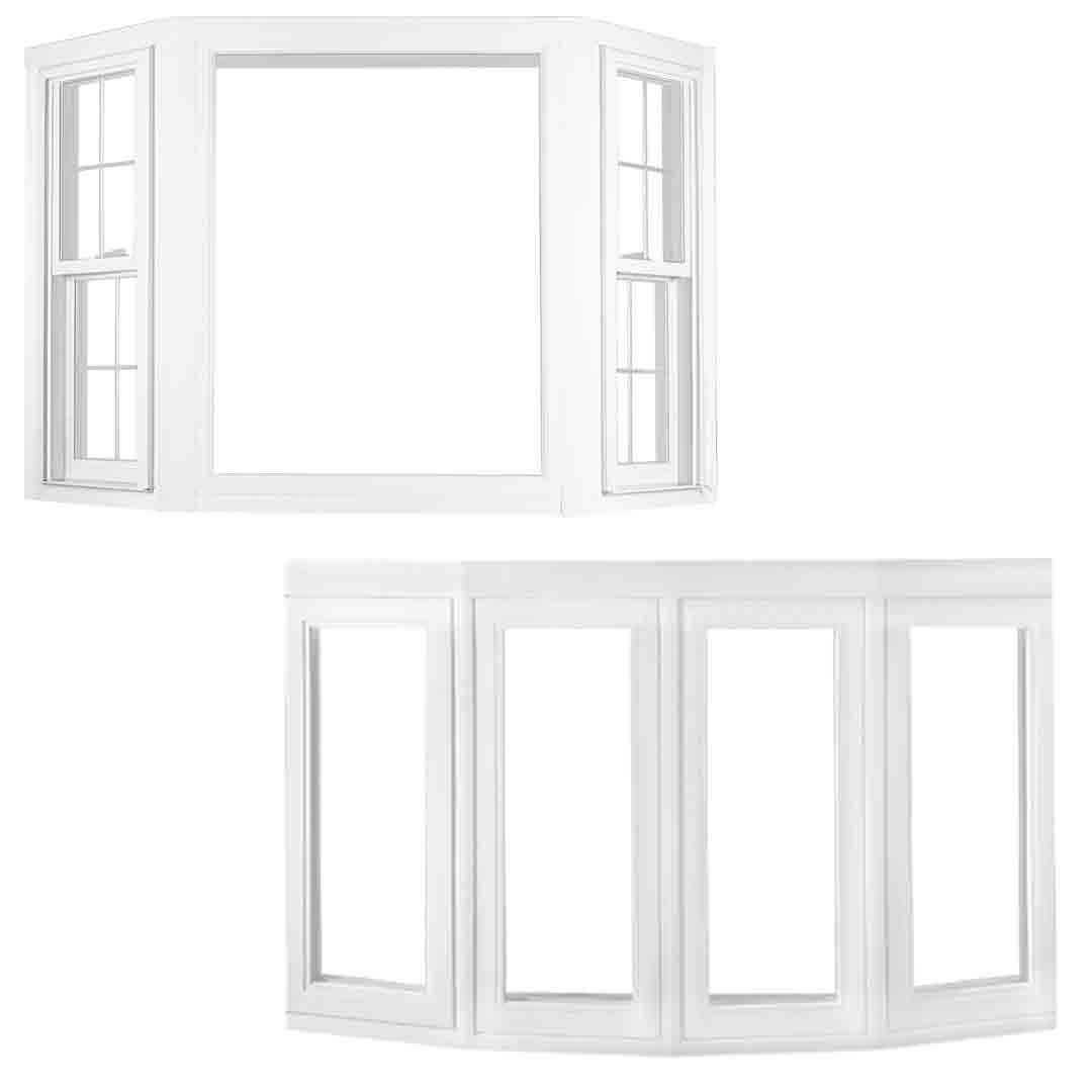 Bay and Bow Windows. Bay window (top) is different from a Bow window in that there is 3 or more windows at angled projections. One window is a different size than the other windows and often a picture window is in the middle, usually with 2 smaller windows on either side. Bow windows are all the same size stacked next to one another and usually has four or five windows. Bay and Bow windows both extend beyond the exterior wall and often are used as additional seating area.