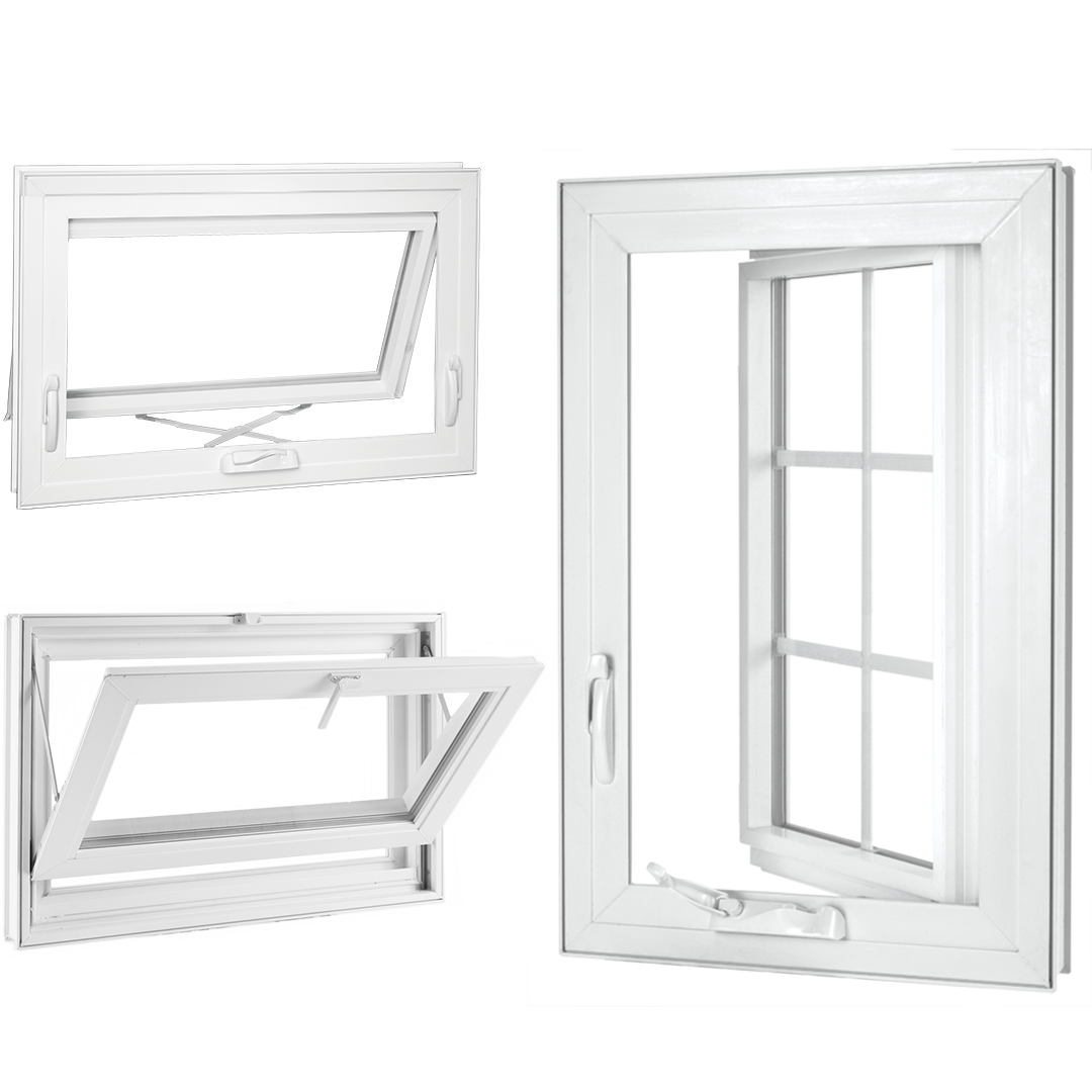 Casement, Awning, and Hopper windows have crank opening and closing.