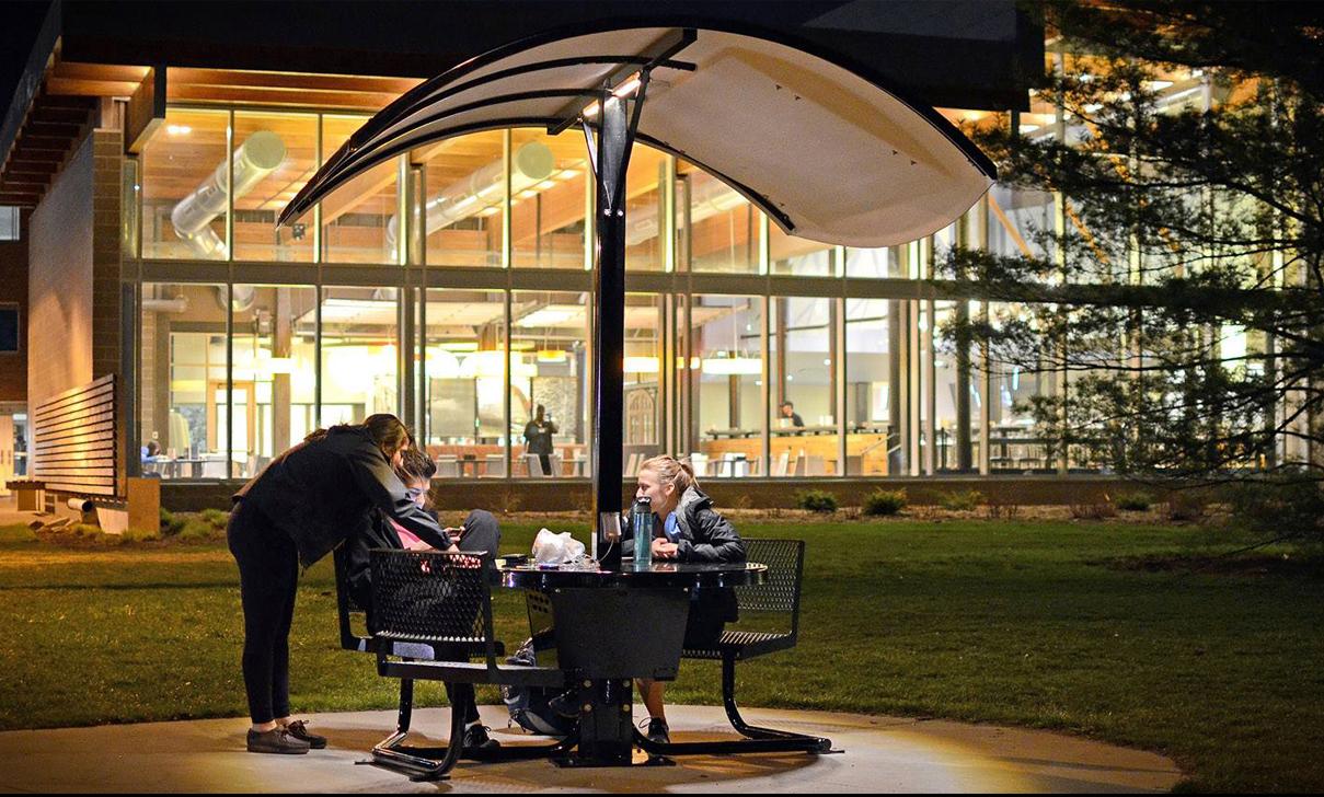 Evodia Solar Table (night) at Michigan State University.