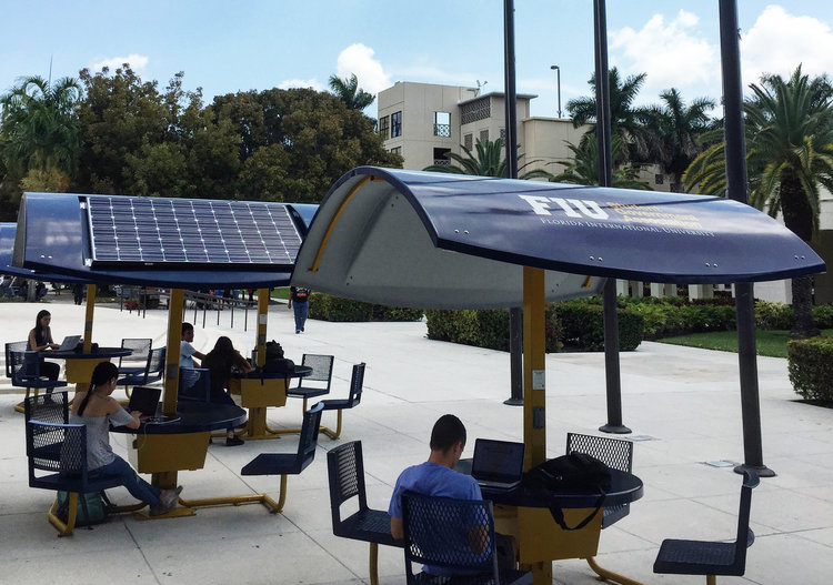 Evodia Solar Workstations in Miami, FL that withstood Category IV Hurricane winds (130-140mph) in 2017