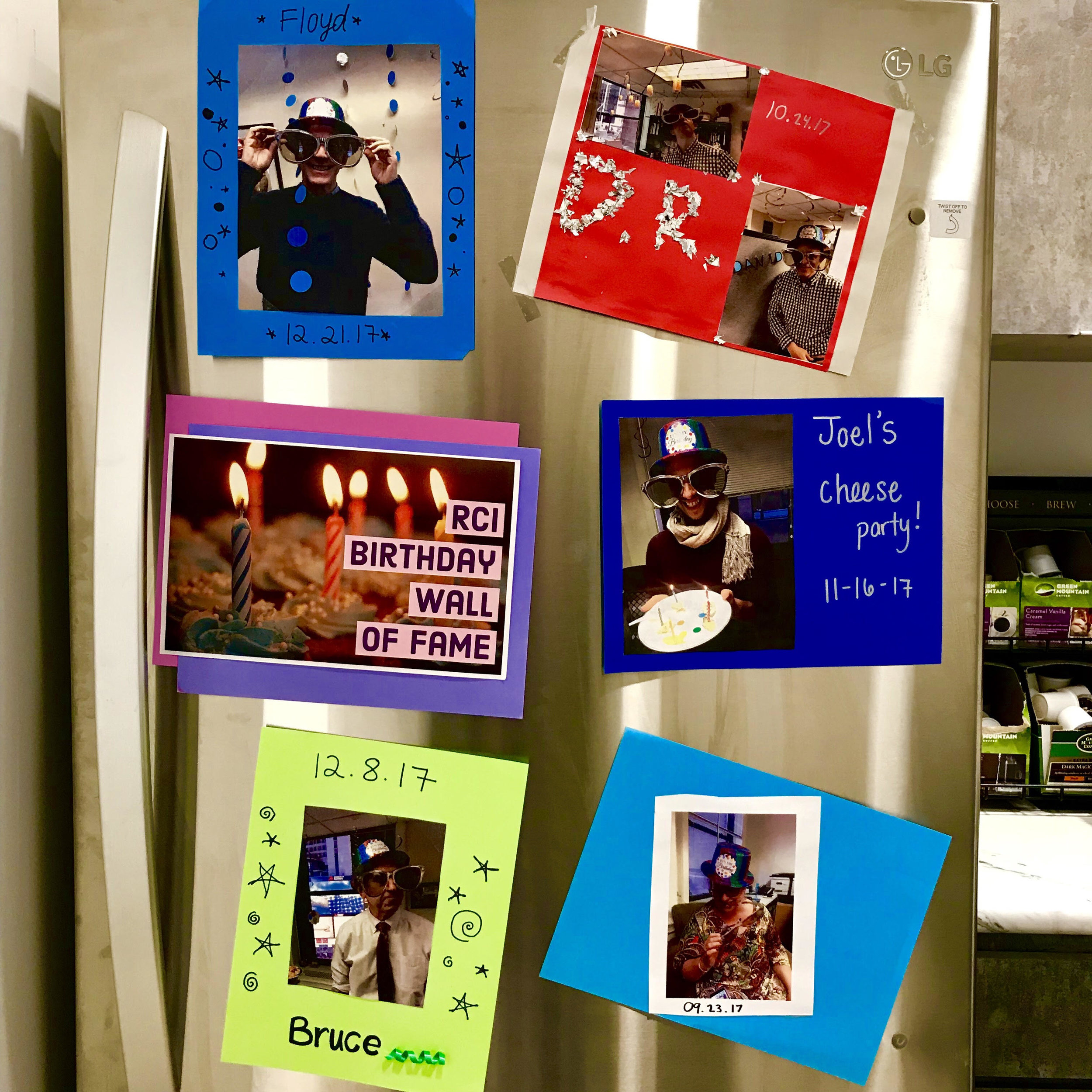 The infamous birthday wall now has a new home on our brand new refrigerator in our full sized kitchen!