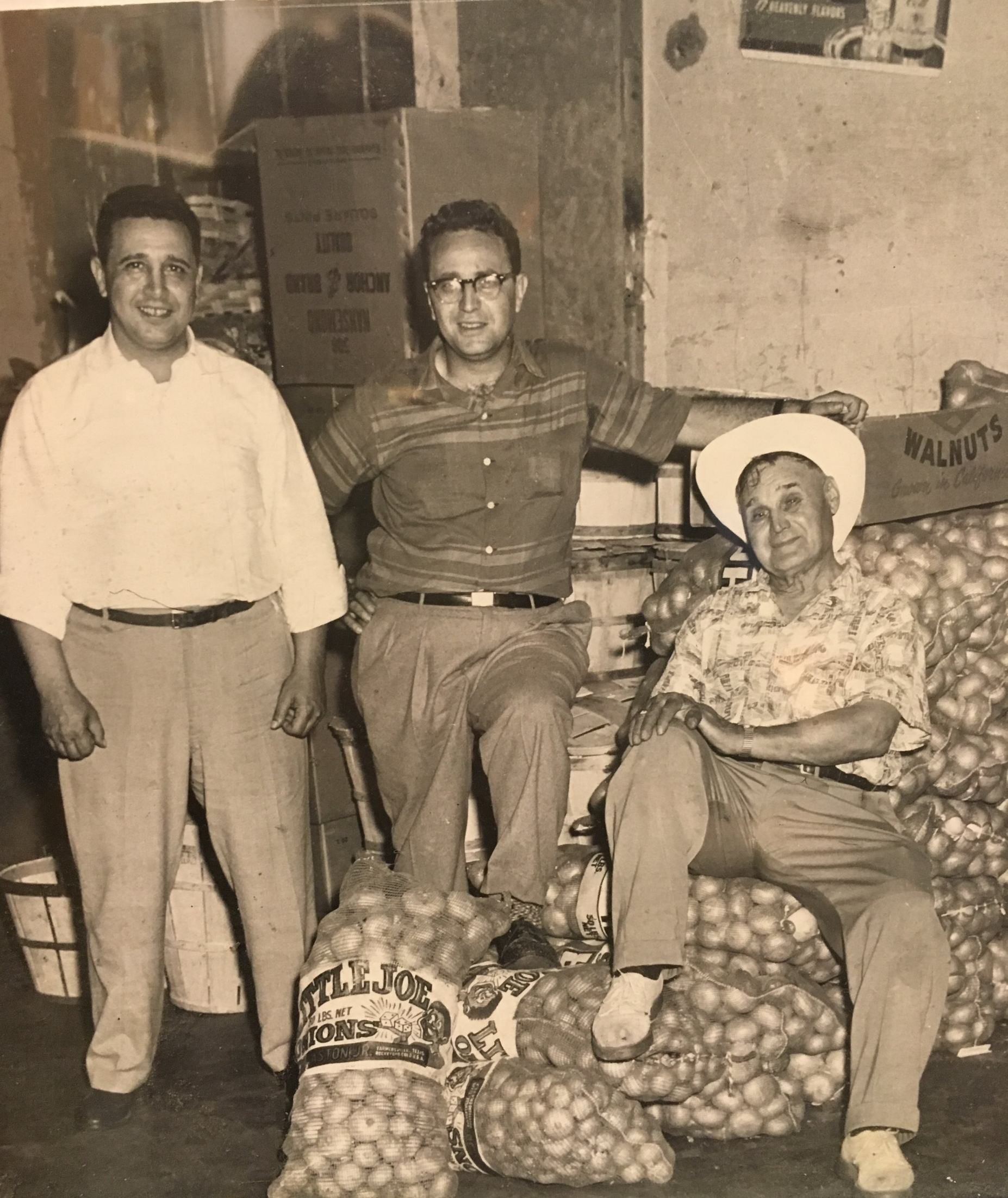 "Olgo Russo, Gildo Russo and Antonio ""Papa"" Russo at our original warehouse on Lexington Street in Watertown."