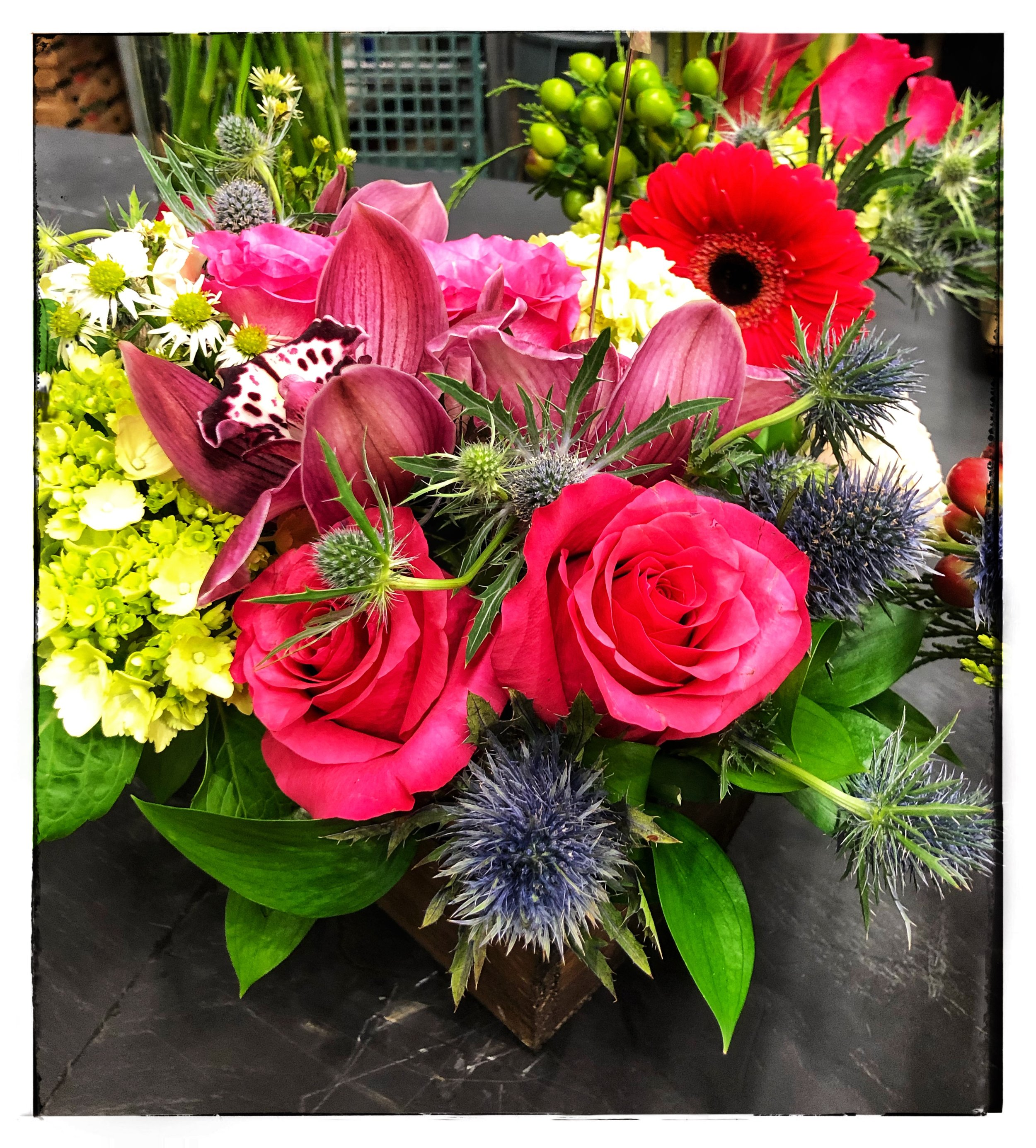 Holiday Floral Arrangements include roses, eryngium, hydrangeas and orchids.