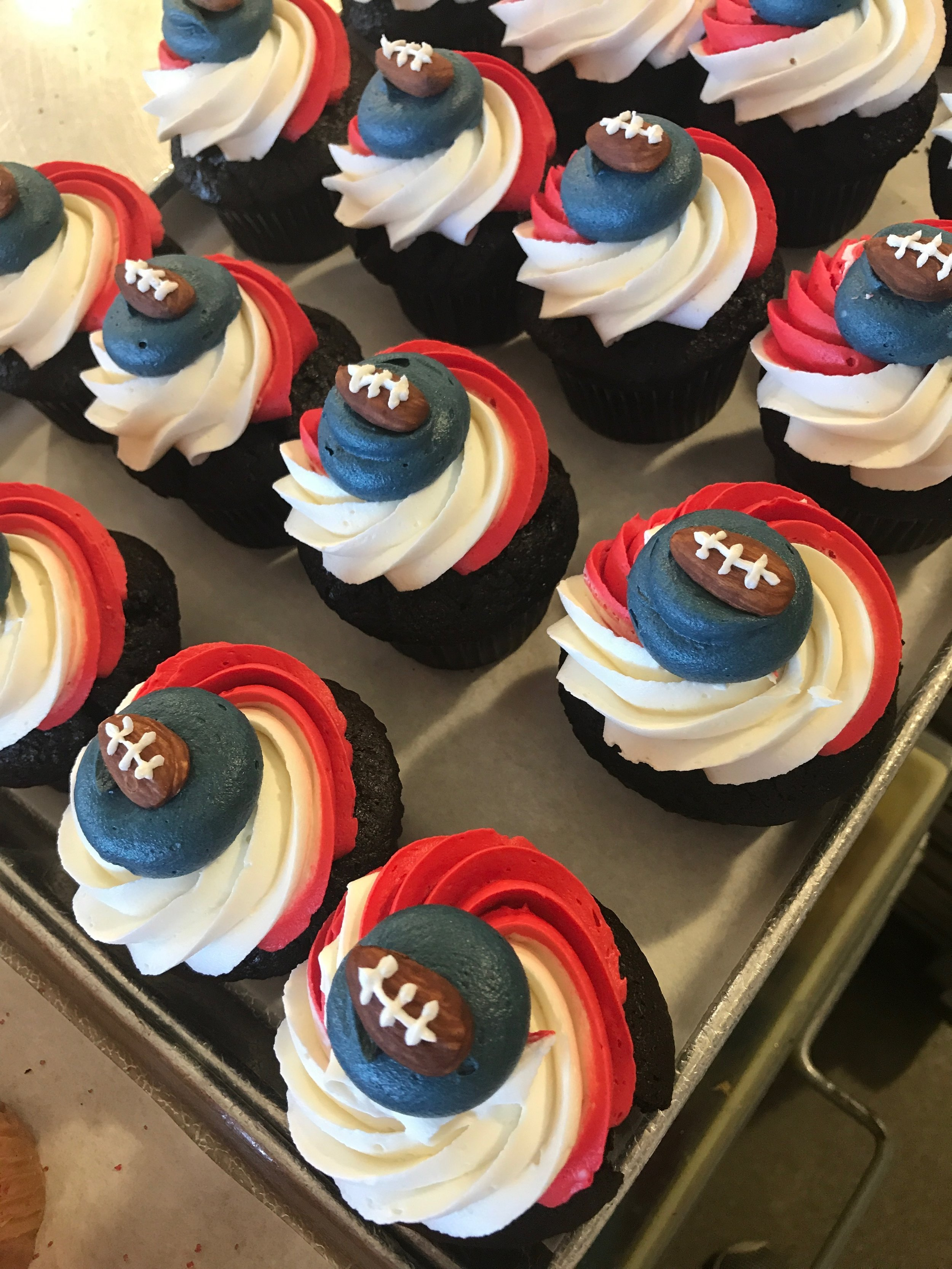 Go Patriots! Order your special playoffs cupcakes today! Call our bakery (617) 923-1500.