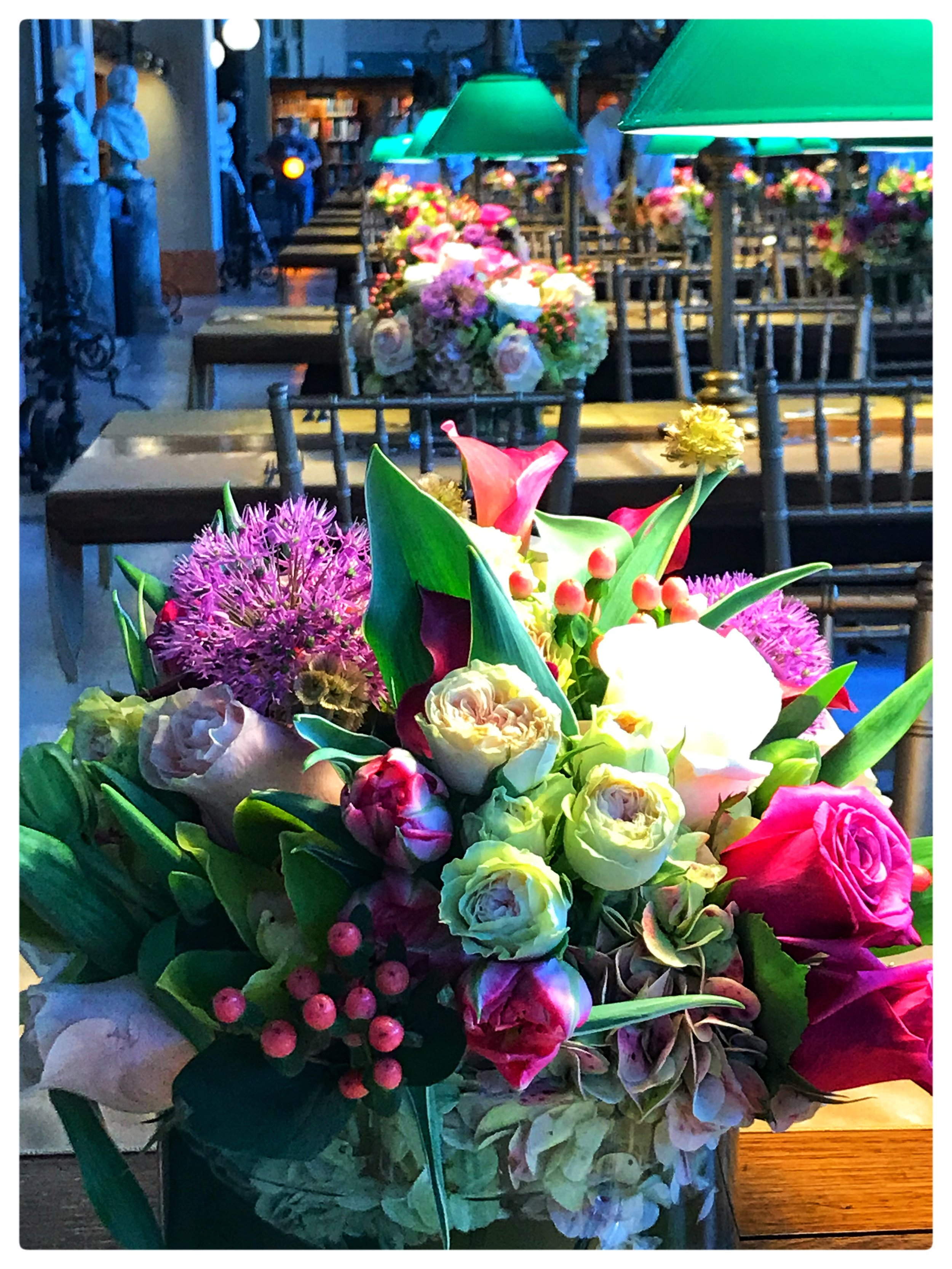 Flower arrangements made by Russo's for a special event at the Boston Public Library.
