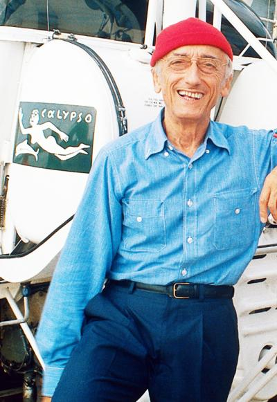 *Cousteau aboard his beloved Calypso ship.