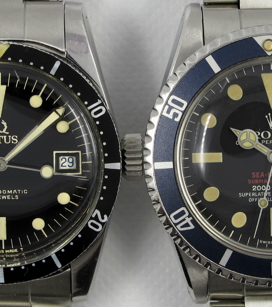 Ref. 7985 (left) is listed at ~38mm  Rolex 1665 DRSD (right) is listed at ~40mm diameter.  Notice the length of the lugs from top to bottom.