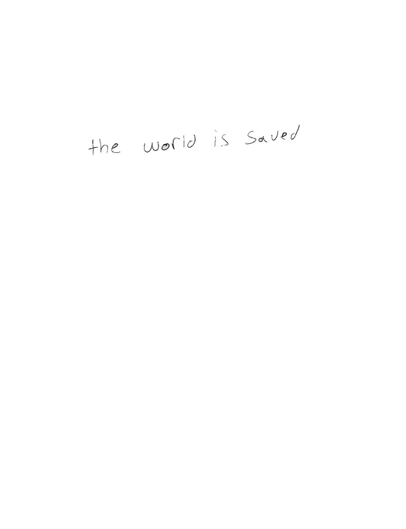 The World Is Saved, self-published 2009
