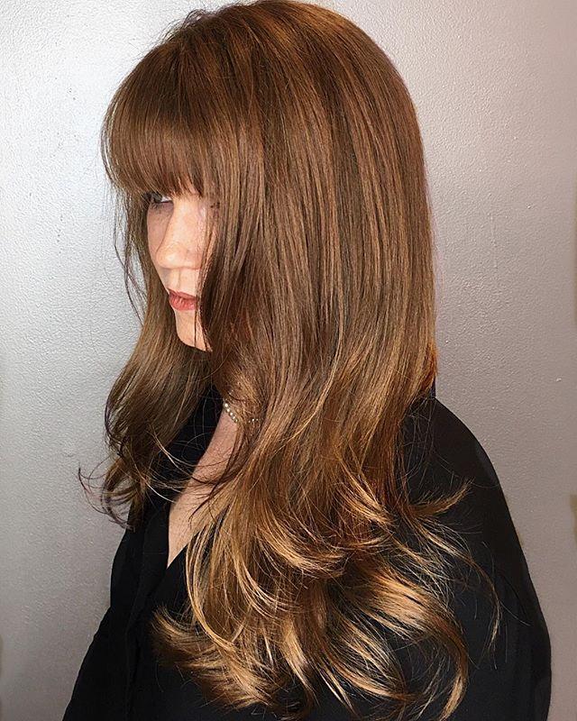 . . . . . #brunettebalayage #brunette #brownhair #nychairstylist #manhattan #hairstyles #foxandjane #fekkai #igkhair #layeredhaircut #bangs #haircolor #hairbangs #manhattanstylist #chelseamarket #highline #highlinenyc #creativehair #modernhair #hairmodel #fashionmodel