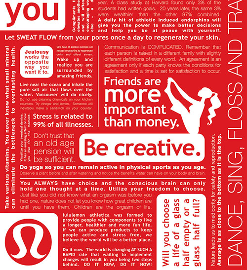 LuluLemon's  branding is unobtrusive to its high-impact content.(image from  here ).