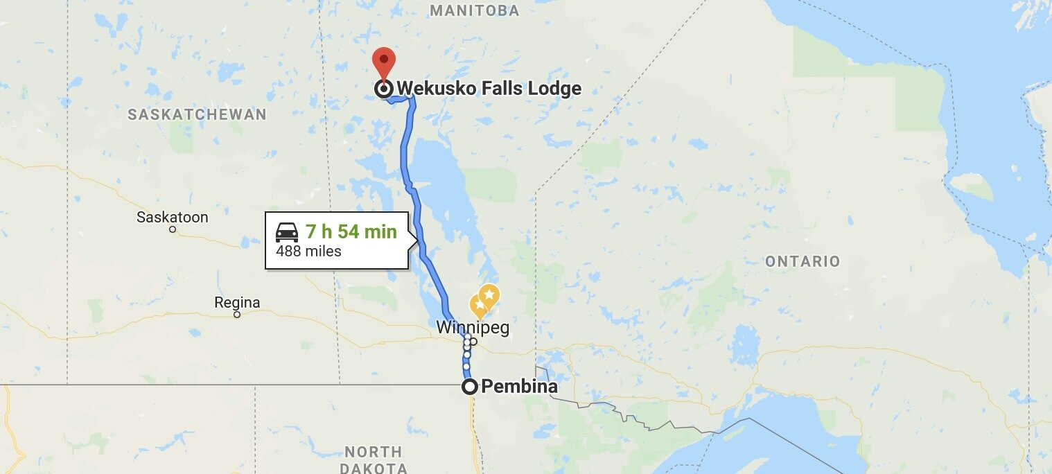 The trek from Pembina North Dakota to Wekusko Falls Lodge in Manitoba.