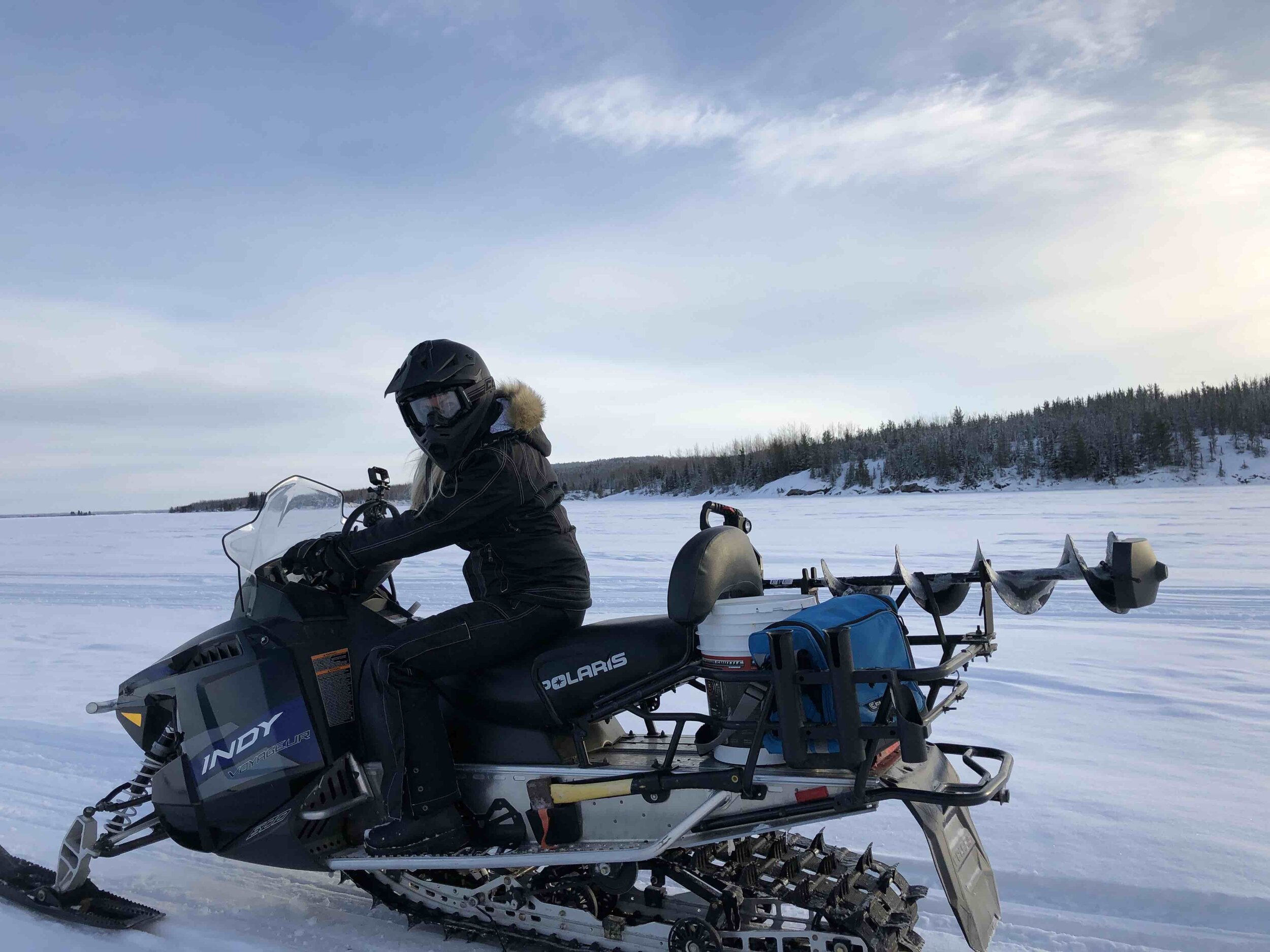 Snowmobiling can be a fun bonus at Wekusko Falls.