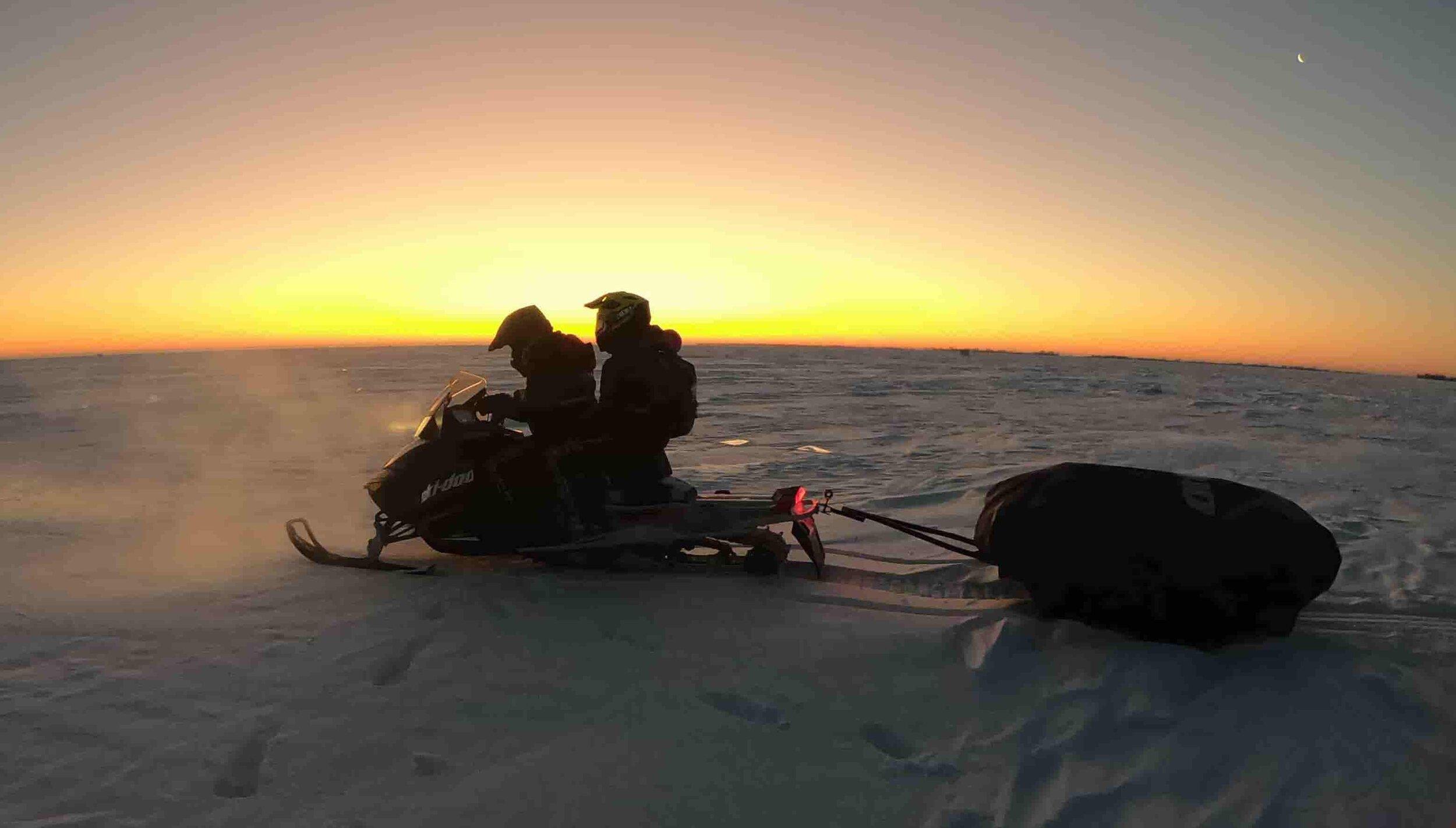 Snowmobiles Lake Winnipeg