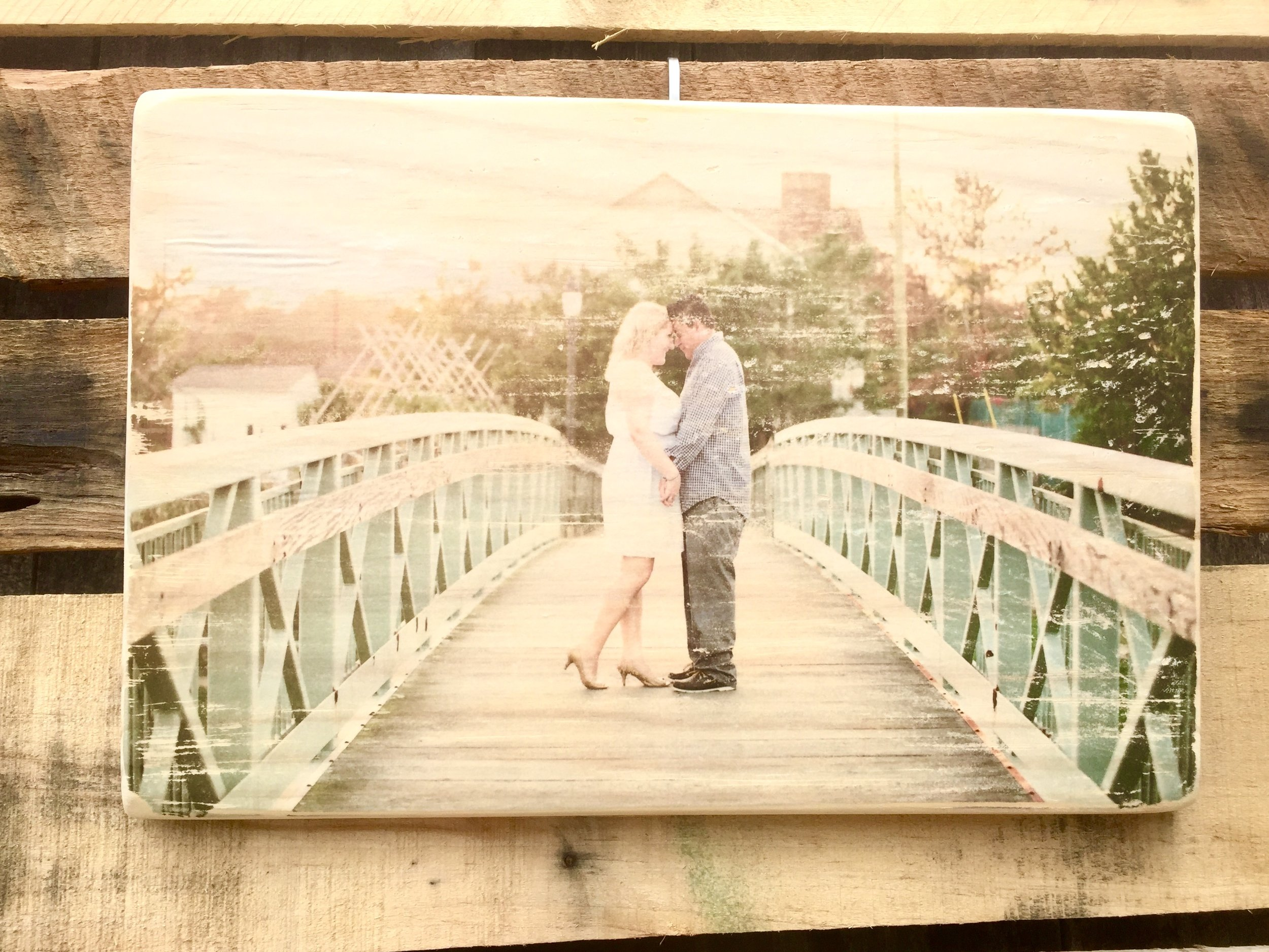 Everlasting Memories - Want a creative way to display your engagement, vacation, or family photos? Seventeenth Street Designs can transfer any digital photo on to a solid piece of pine wood.