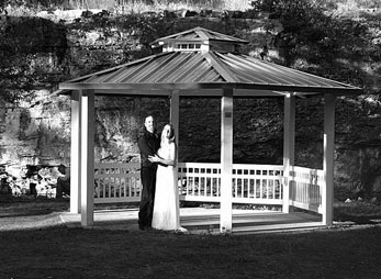 Newly married couple at the Indian Springs gazebo in Spearfish