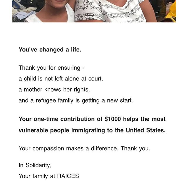 Rounding up 👏👏👏 we raised $600 in ticket sales and it just felt right to round up the proceeds for those who need it the most. Thank you all who are joining us tomorrow and for those that can't make it, you can still help by donating directly to @raicestexas ❤️