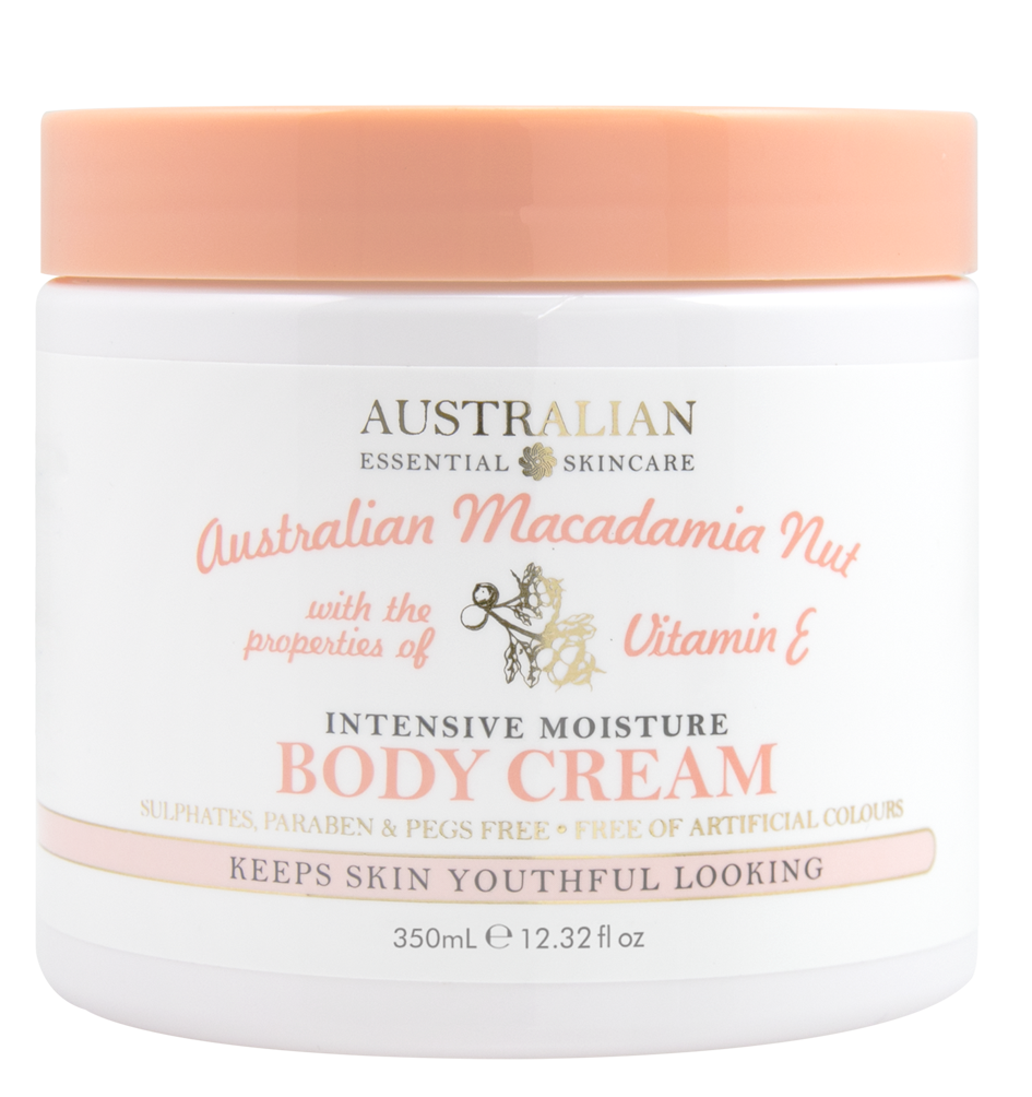 AUSTRALIAN MACADAMIA NUTWith the properties of Vitamin EINTENSIVE MOISTUREBODY CREAM - • Australian Product• Sulphate, Paraben & PEG Free• No Added Glycols• Free of Artificial Colours• Regenerates & softens skin• Richly nourishing against dryness  • Keeps skin youthful lookingMacadamia Nut Oil contains a perfect balance of essential fatty acids known for their superior hydration & nourishing characteristics.These fatty acids nourish the skin, helpingto alleviate dry skin and lock in moisture for exceptional hydration retainment.Vitamin E is a potent anti-oxidant that aids in boosting collagen production. This retainsskin's elasticity, supports new skin cellgrowth and regeneration and in turn combatsthe signs of ageing.