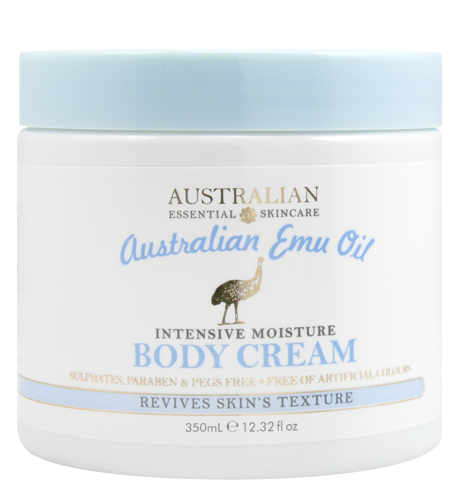 AUSTRALIAN EMU OIL INTENSIVE MOISTUREBODY CREAM - • Australian Product• Sulphate, Paraben & PEG Free• Free of Artificial Colours• No Added Glycols• Fortifies & soothes skin• Revives skin's texture & appearance• Intensely moisturisesEmu oil has transdermal ability, meaning it can penetrate all layers of skin to deliver nutrients, which help promote optimum skin renewal.Emu oil is intensely moisturising and nourishing and can make the skin feel soft, more elastic and firm due to the restoration of the normal fats in the skin.