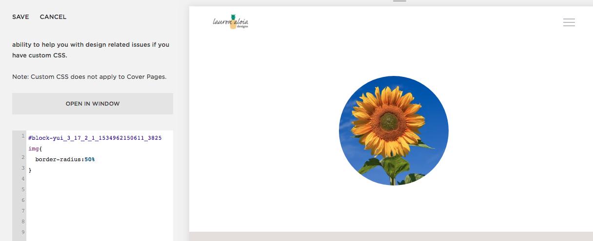 Squarespace circular images