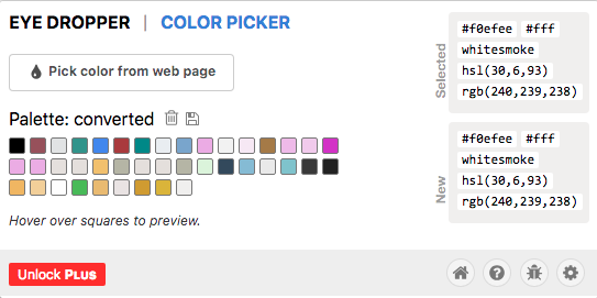 Eye Dropper keeps a history of colors the user chooses.