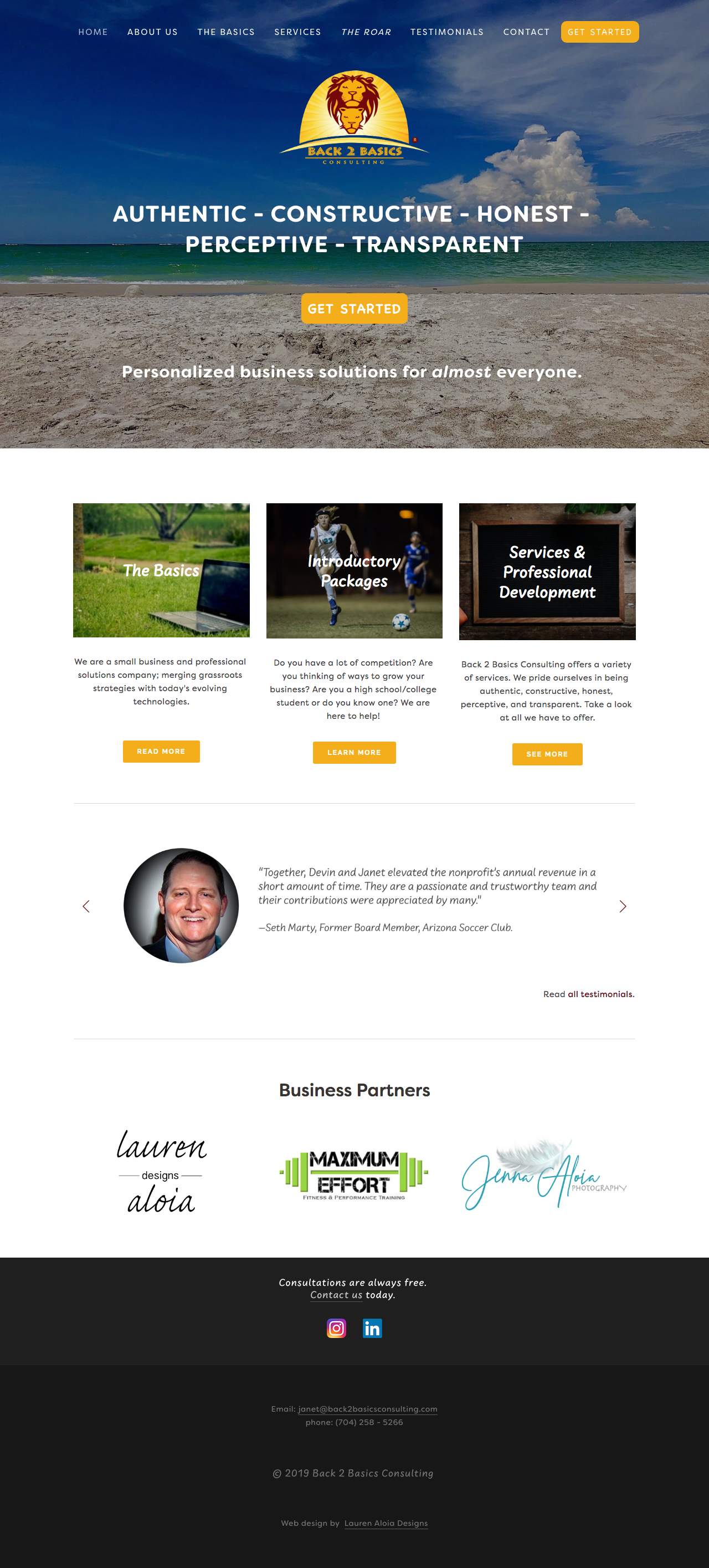 Back 2 Basics Consulting, Home Page