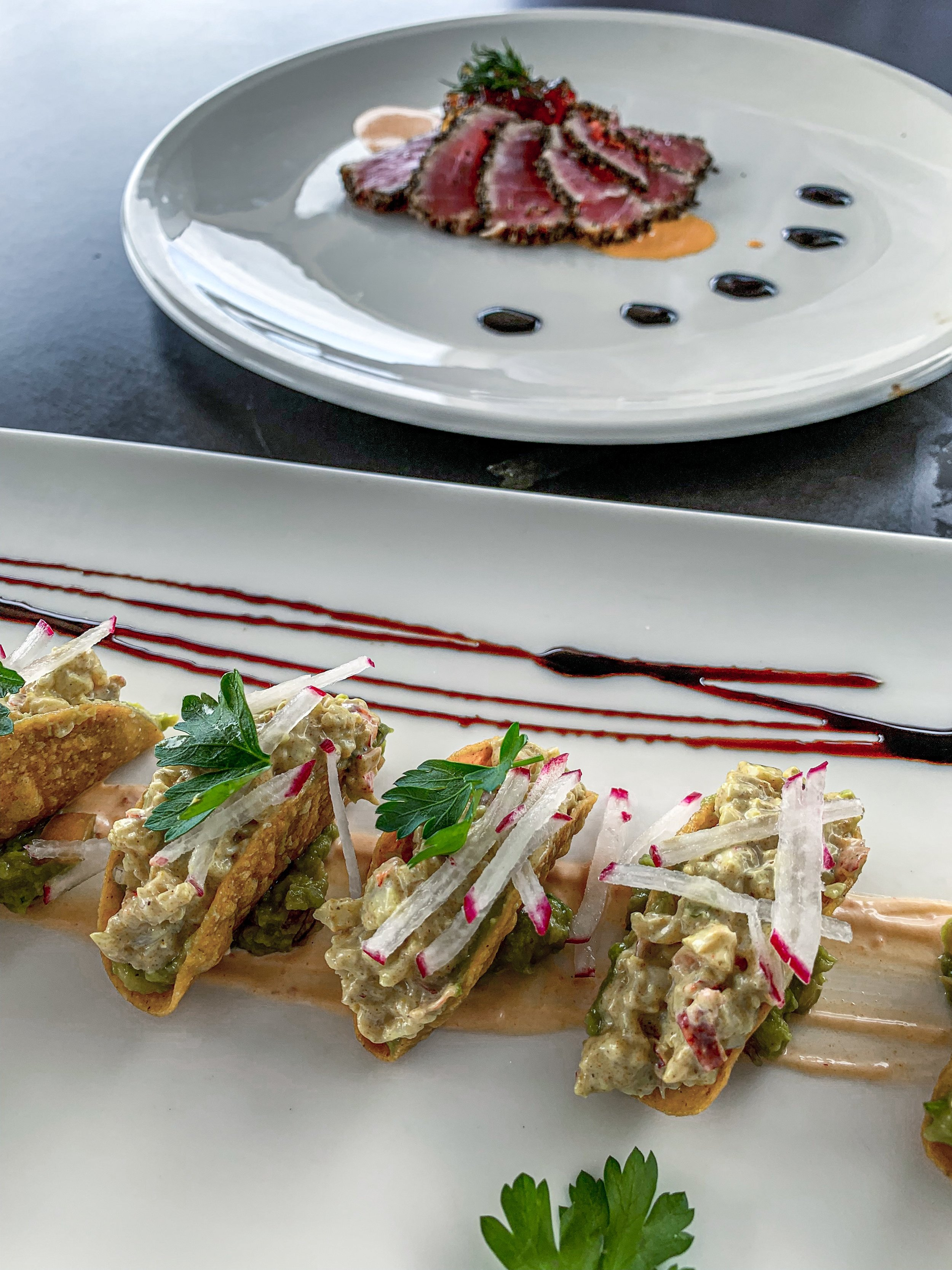 lobster tacos and ahi tuna at aMare Restaurant