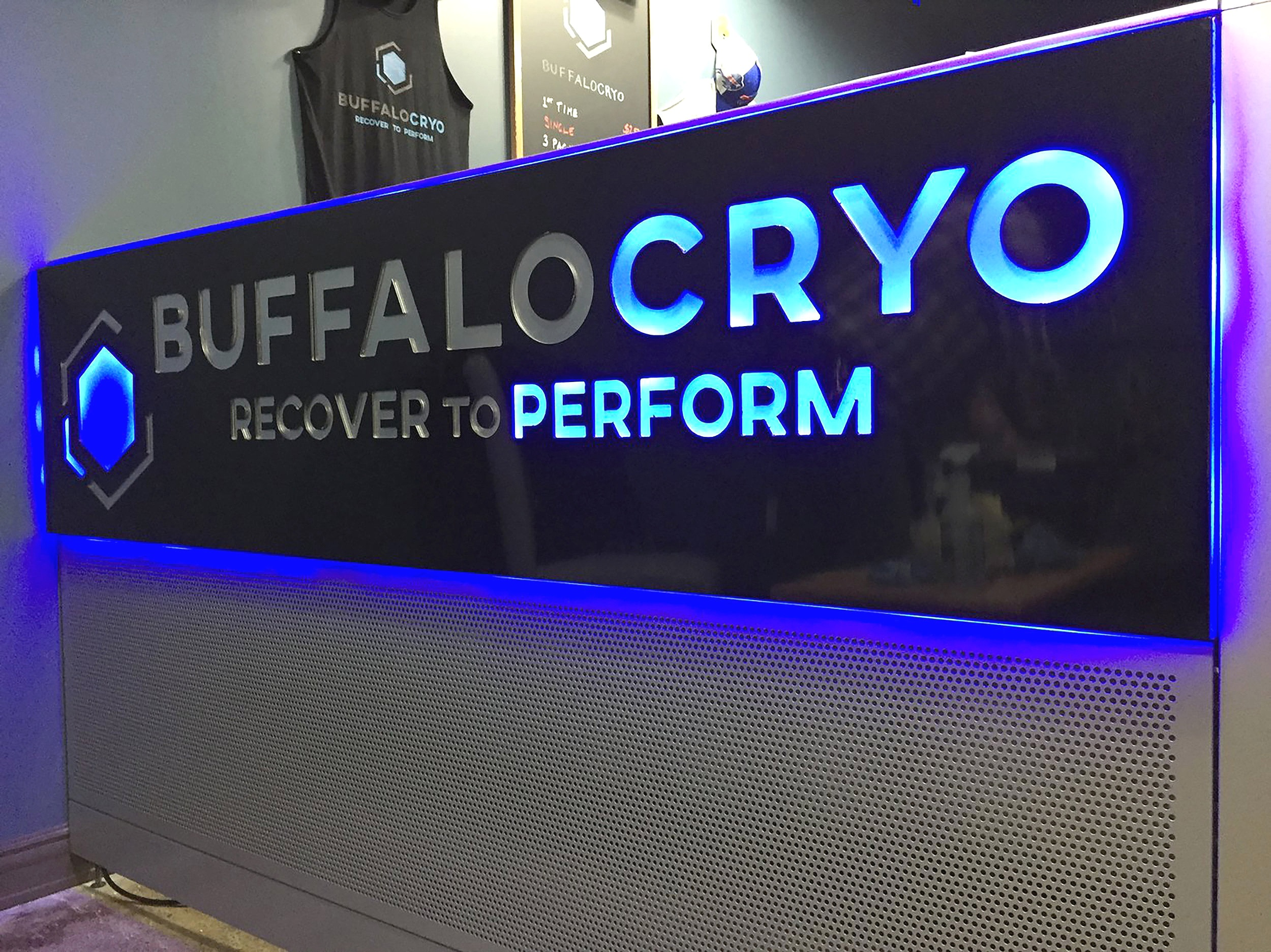 Buffalo Cryo - Backlit Acrylic and Brushed Metal Reception Display
