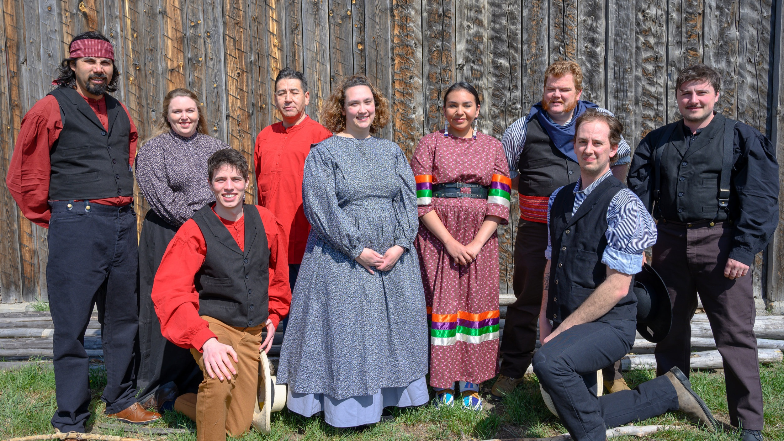 A Photo of the staff at Fort Whoop-Up for the 2019 season. Michael McDougall-Price, Katelyn Heidinger, Aaron Lorenz, Harrison Red Crow, Natasha Gray, Raven Limpy, Troy Bannerman, Kieran Swayn, and Billy Hurtubise    .