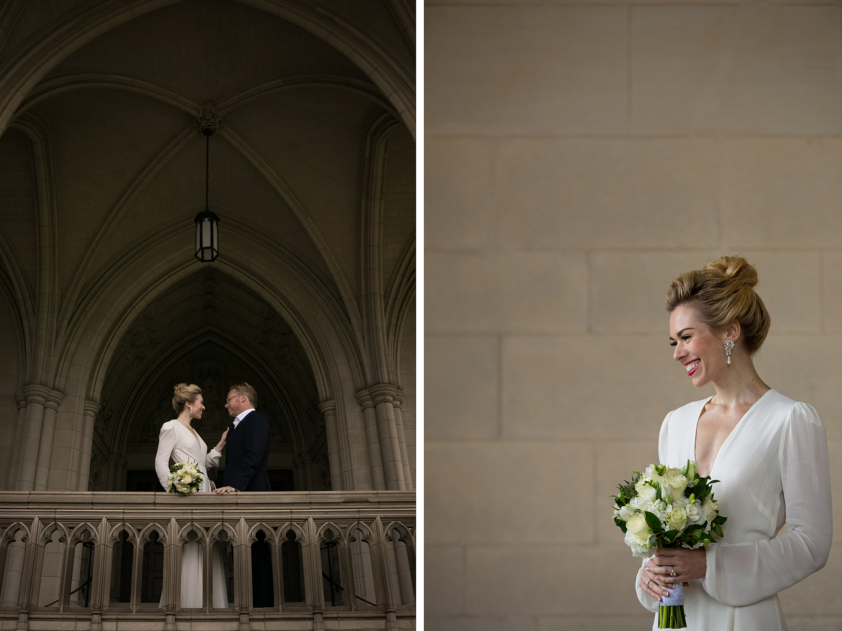 Bride and groom posing under the stone arches during wedding at the National Cathedral in Washington DC
