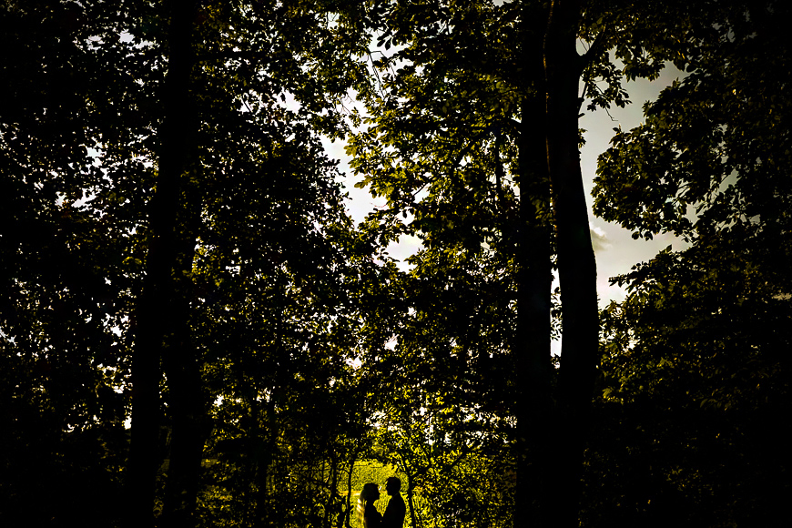 Bride and groom silhouetted against green foliage during a wedding in Northern Baltimore County Maryland