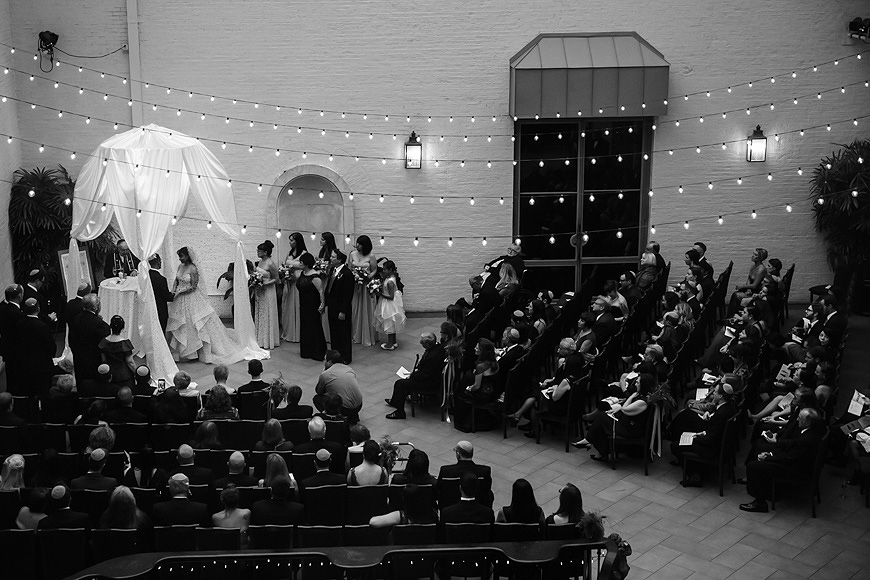 Wide angle view of wedding ceremony in the courtyard of the Engineers Club